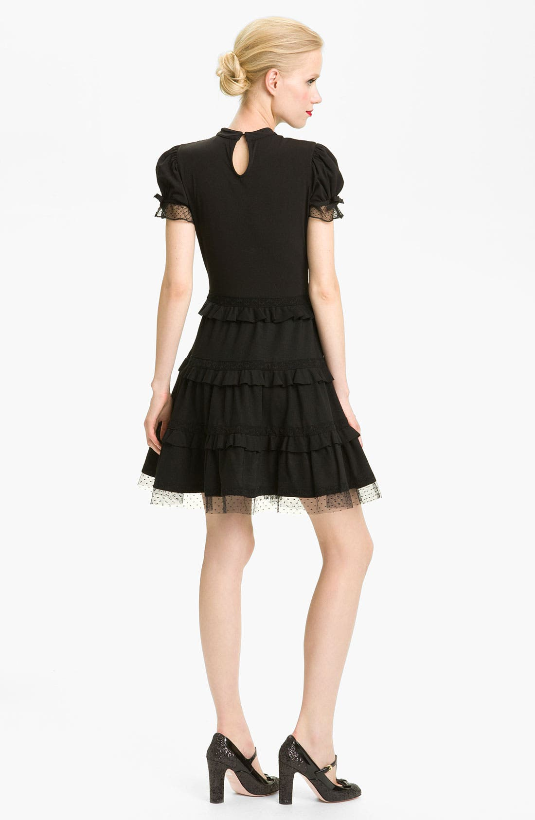 Alternate Image 2  - RED Valentino Tiered Hem Jersey & Lace Dress