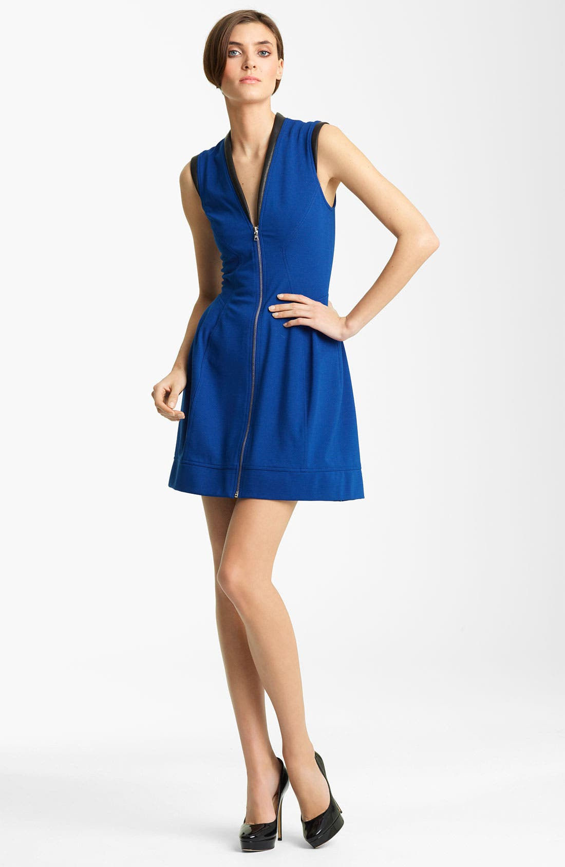 Alternate Image 1 Selected - Yigal Azrouël Leather Trim Jersey Dress