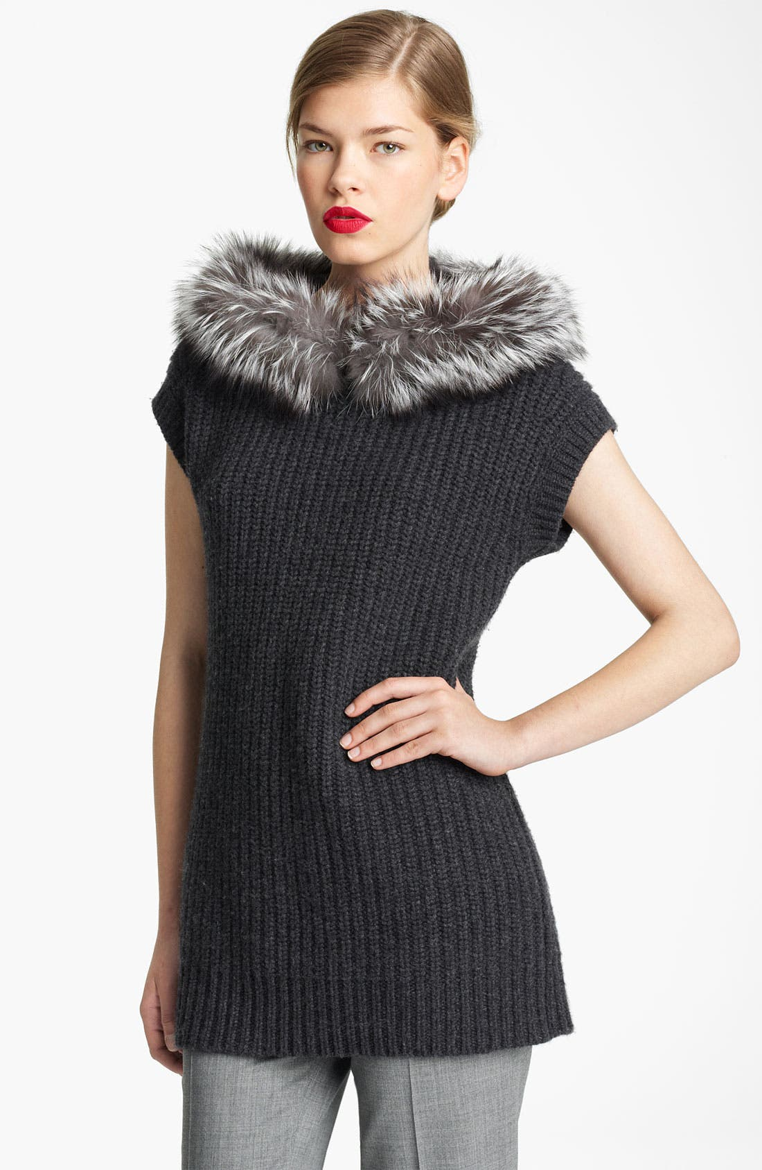 Alternate Image 1 Selected - Michael Kors Genuine Fox Fur Trim Hooded Sweater