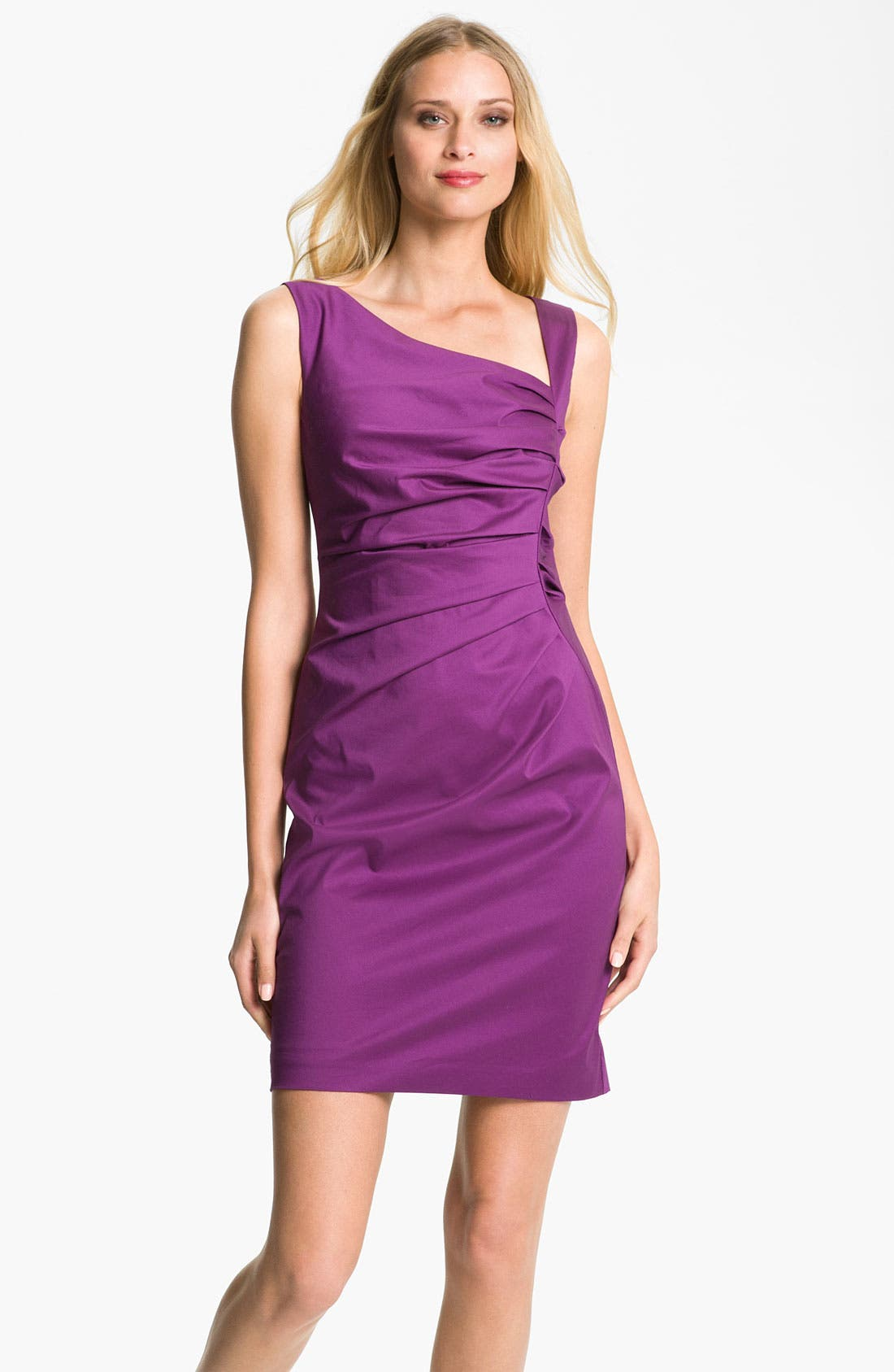Main Image - Suzi Chin for Maggy Boutique Ruched Asymmetrical Neck Sheath Dress