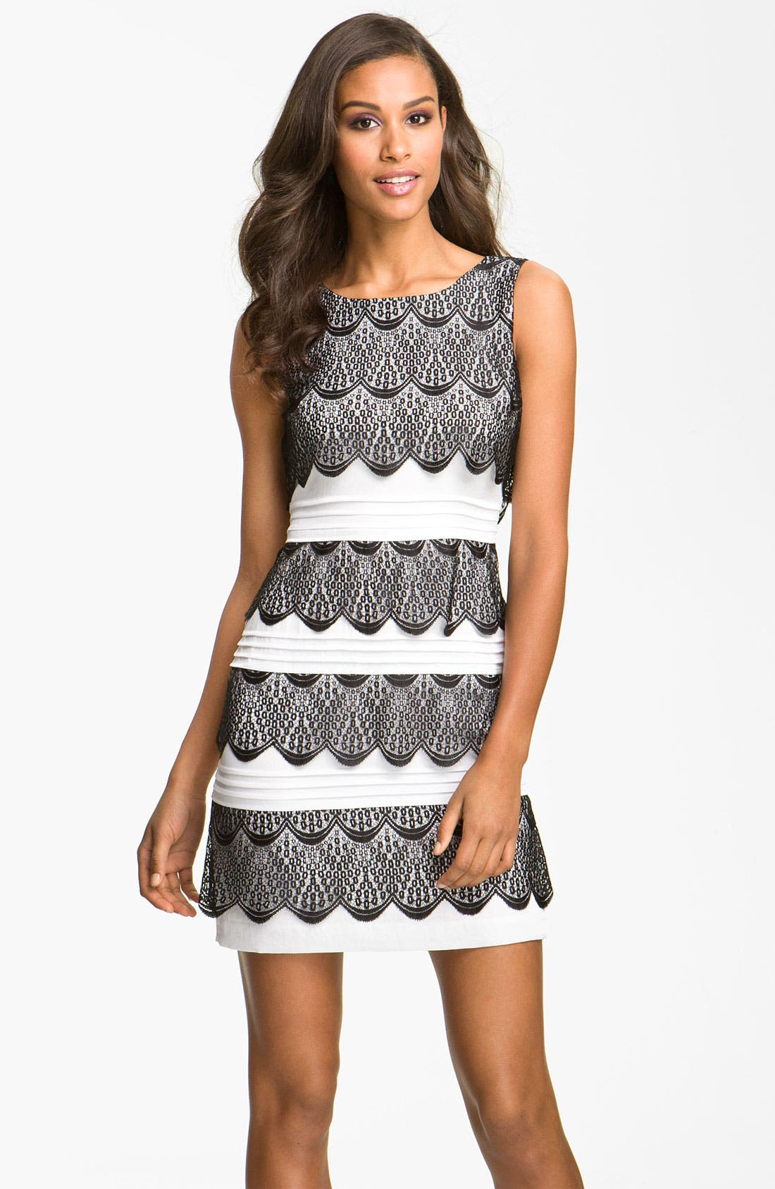 Main Image - BCBGMAXAZRIA Tiered Lace Cocktail Dress