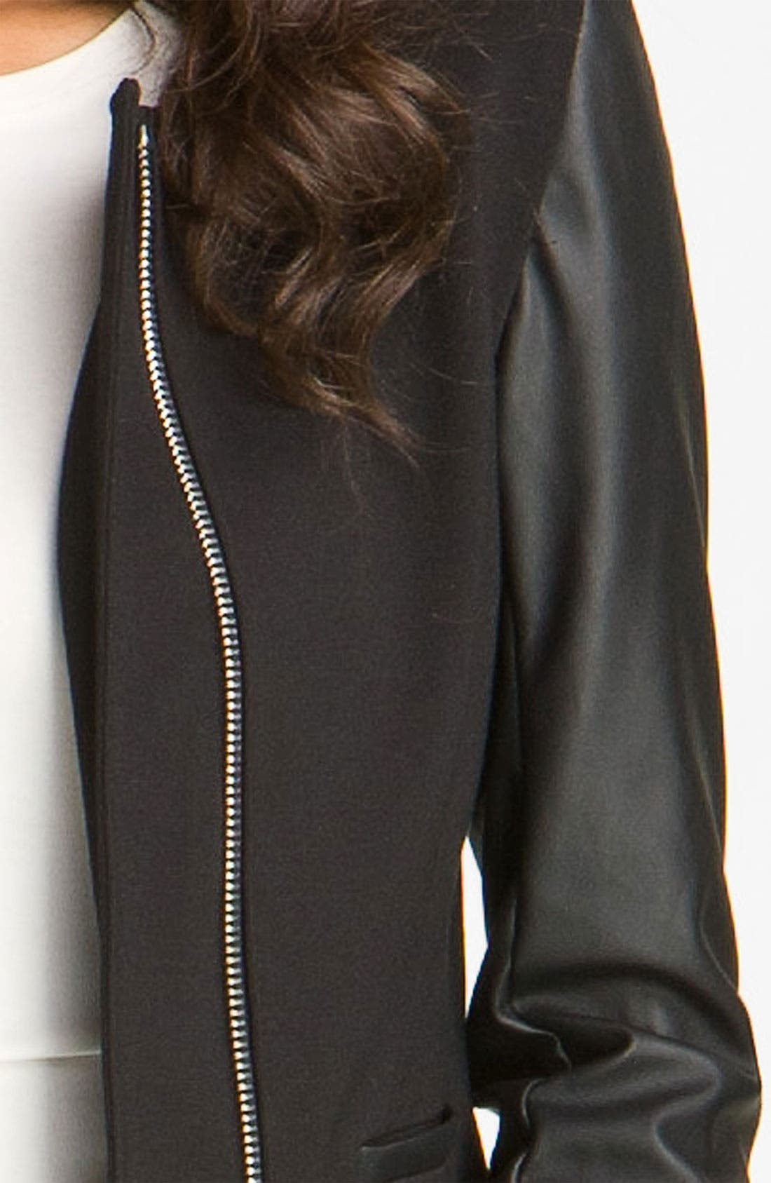 Alternate Image 3  - Vince Camuto Faux Leather Sleeve Jacket