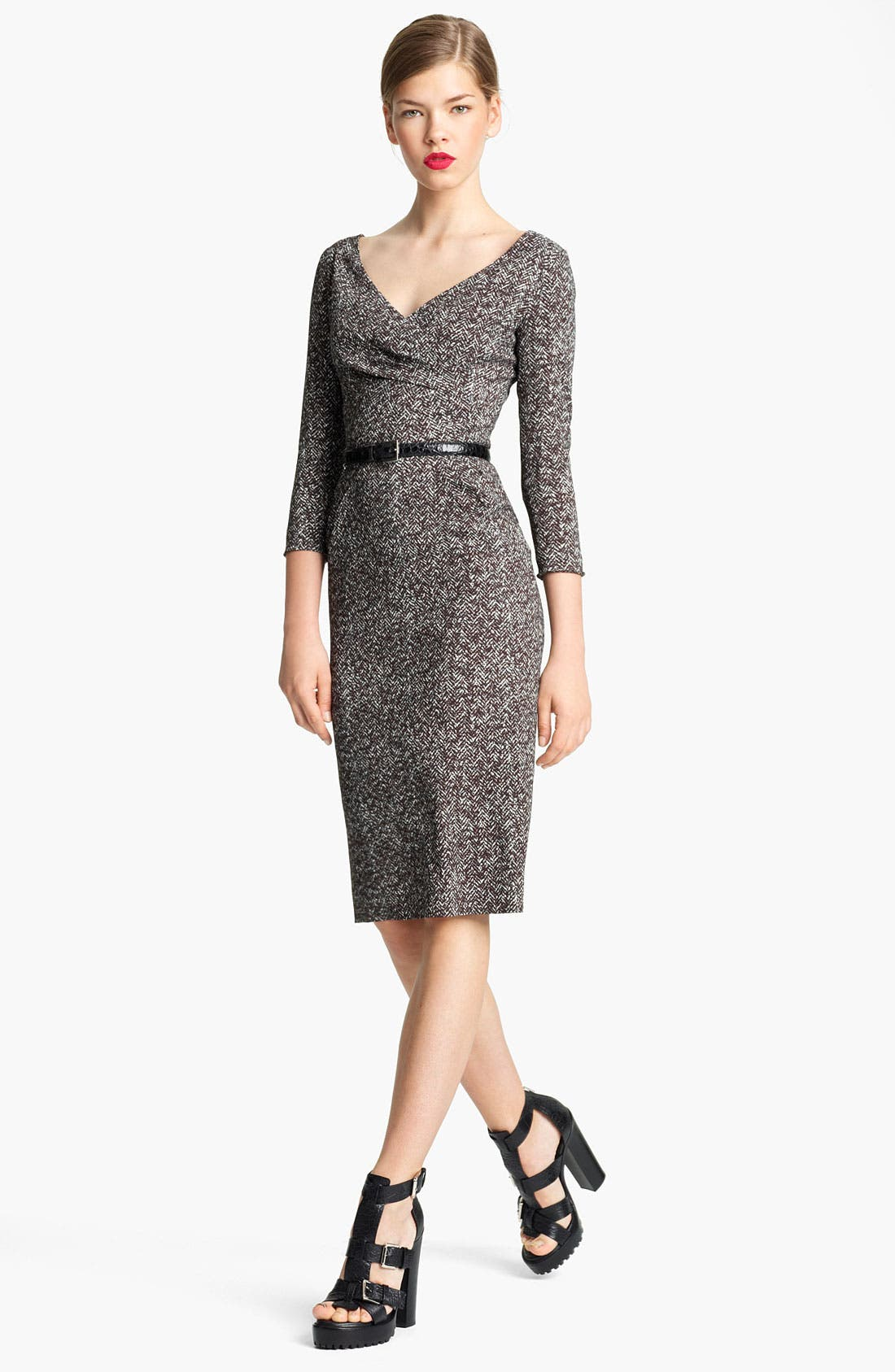 Main Image - Michael Kors Belted Tweed Print Cady Dress