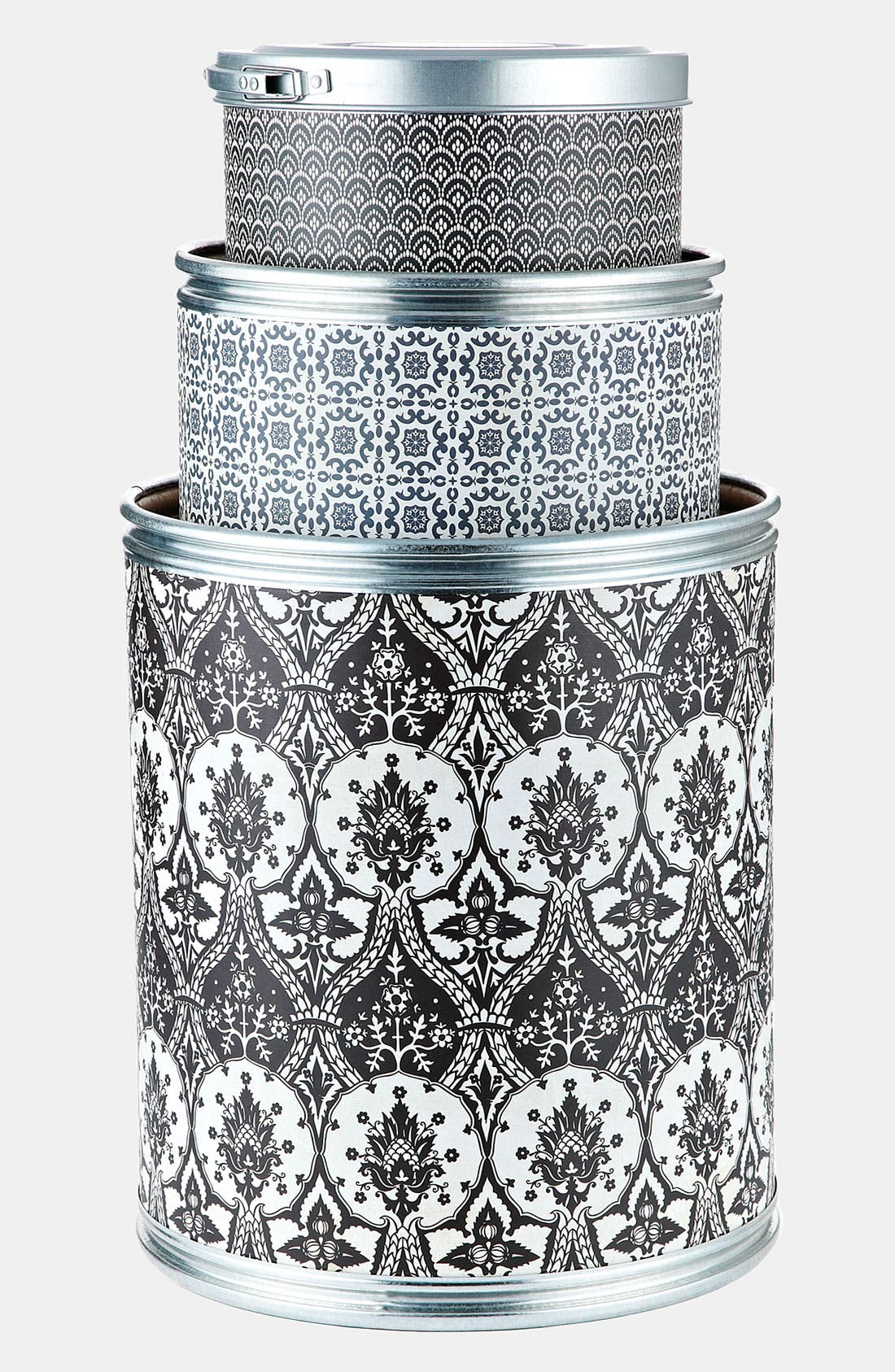 Alternate Image 1 Selected - Basic Grey 'Black Tie' Storage Barrels (Set of 3)