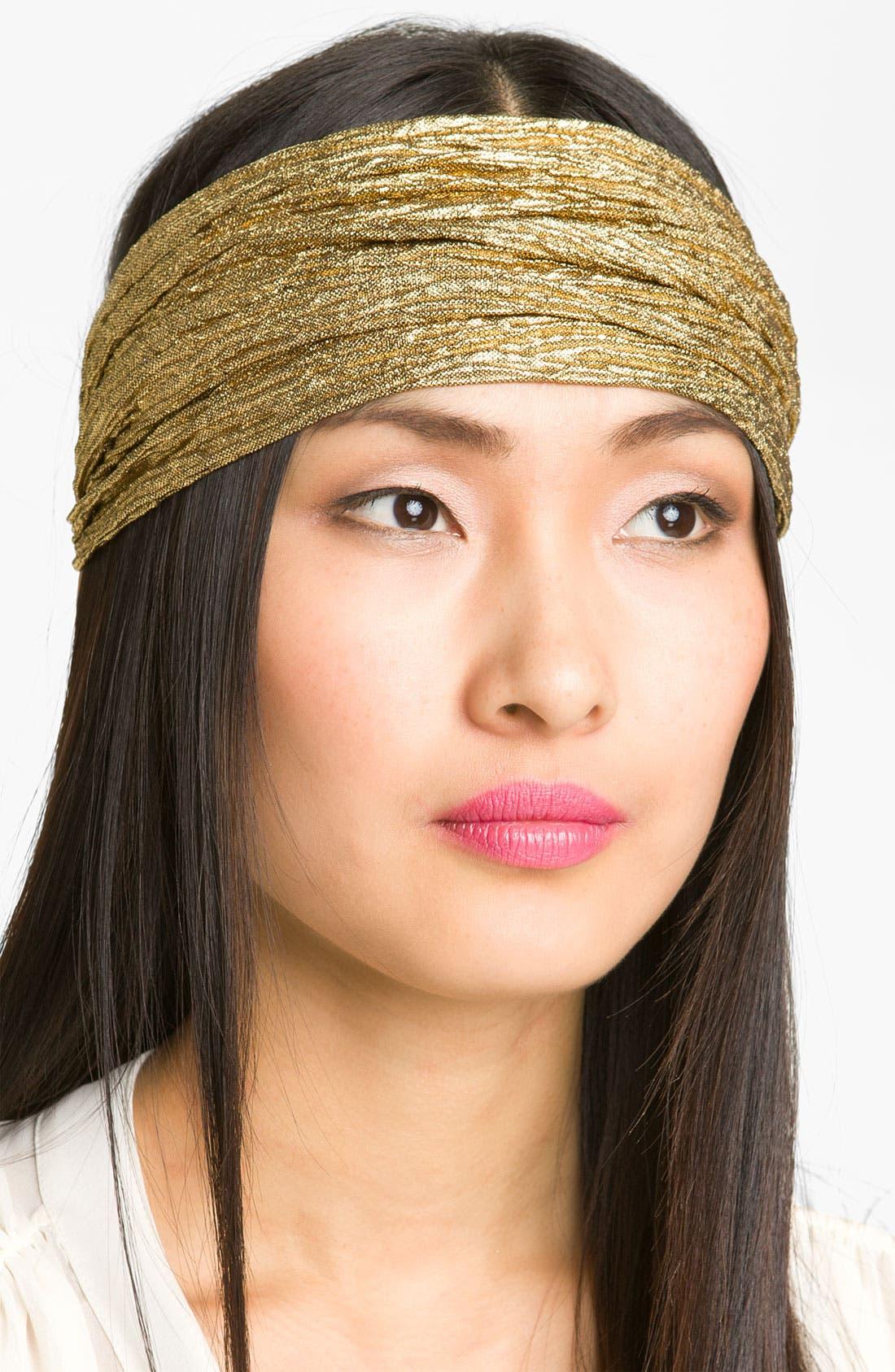 Main Image - Cara Gold Crinkle Head Wrap