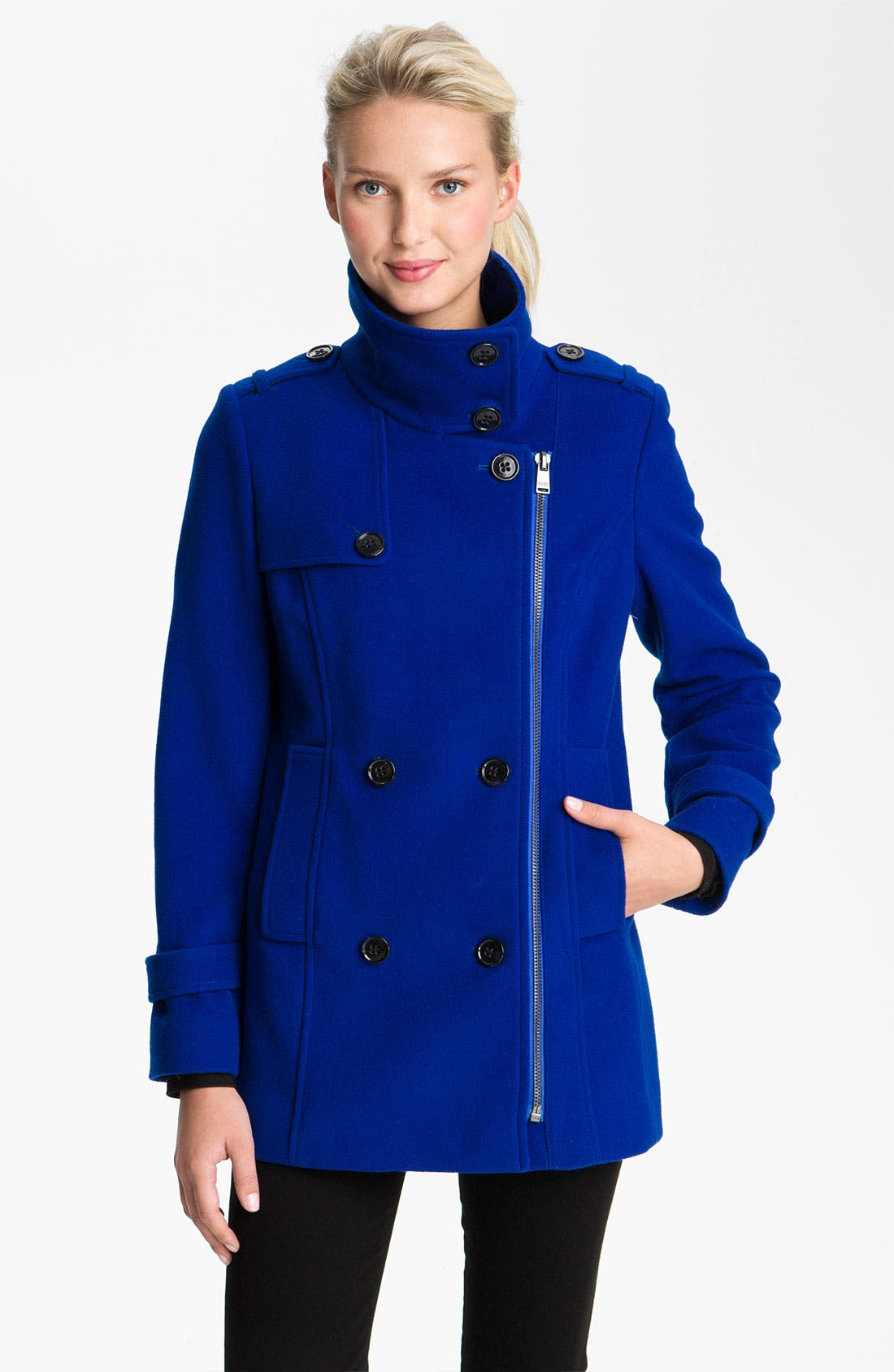 Main Image - Marc New York by Andrew Marc Zip Double Breasted Peacoat (Online Exclusive)