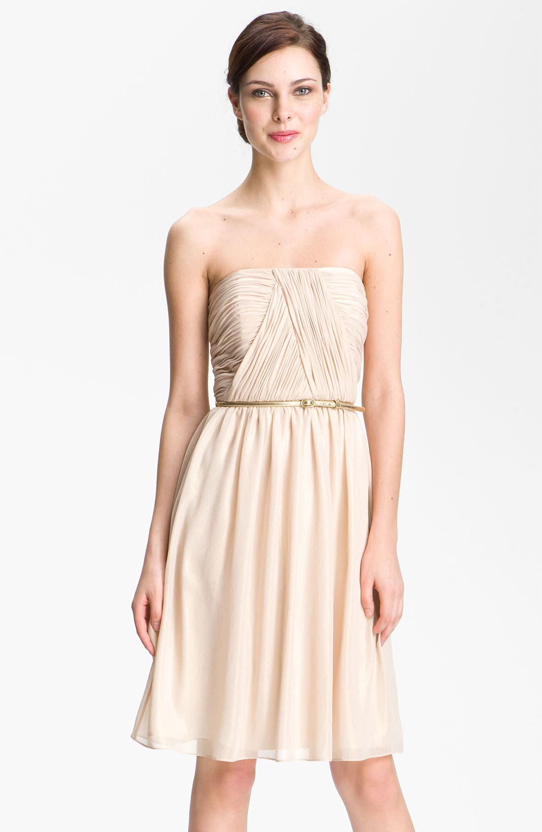 Main Image - Donna Morgan Strapless Shimmer Chiffon Dress