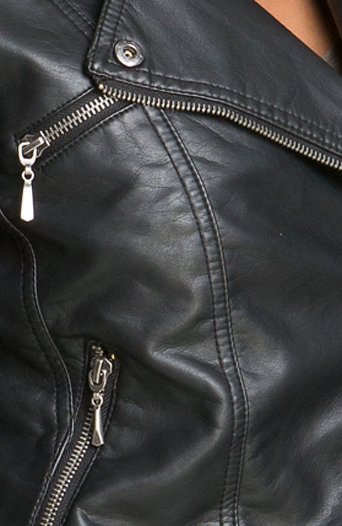 Alternate Image 3  - Collection B 'Vera' Faux Leather Biker Jacket (Juniors)