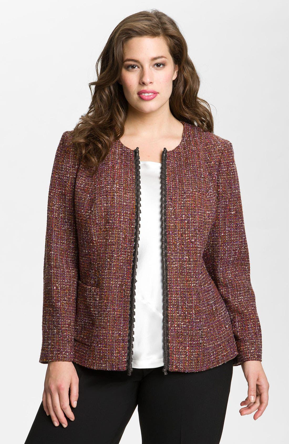 Alternate Image 1 Selected - Lafayette 148 New York 'Meyer' Leather Trim Tweed Jacket (Plus)