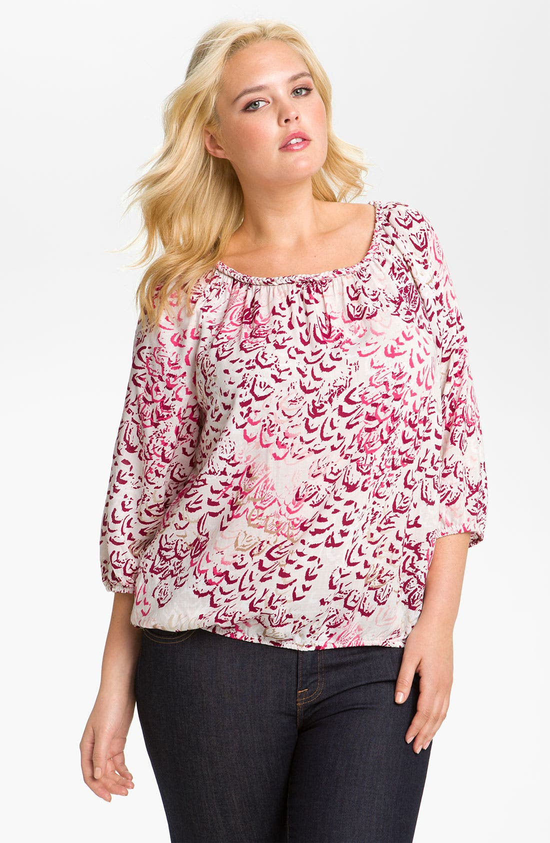 Alternate Image 1 Selected - Lucky Brand 'McGraw' Peasant Top (Plus)