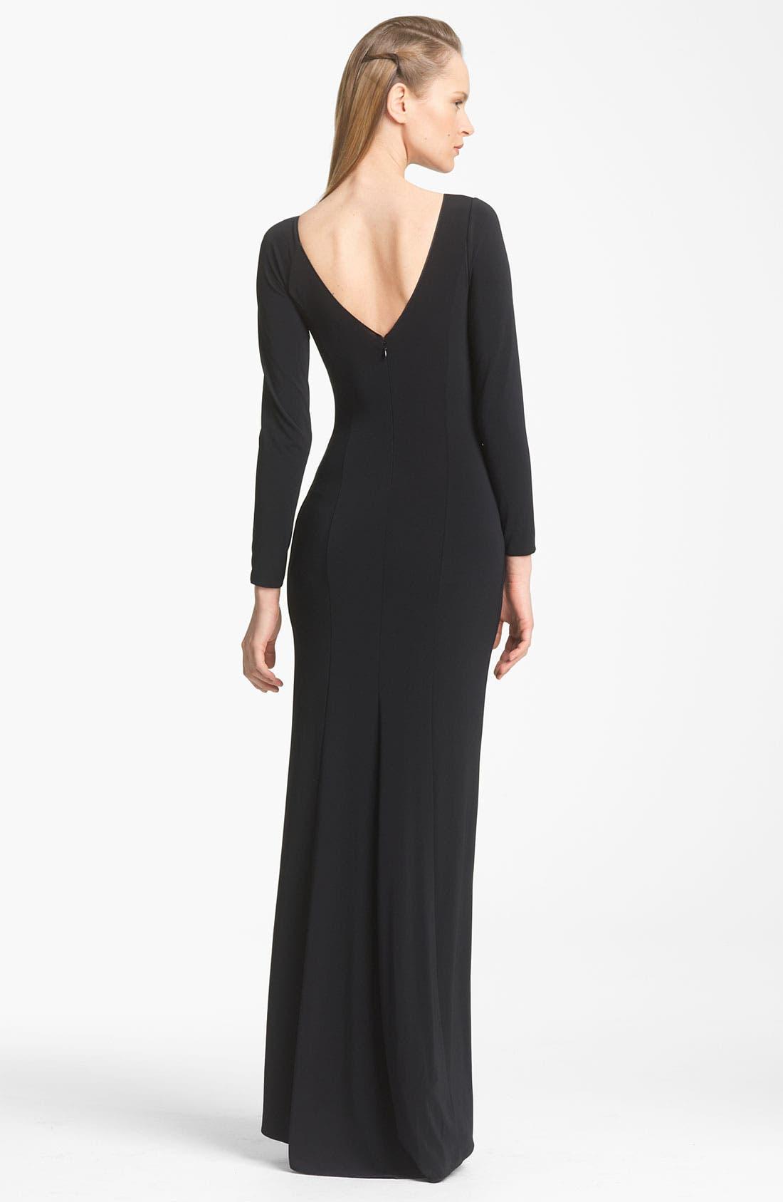 Alternate Image 2  - Armani Collezioni Twist Front Matte Jersey Gown