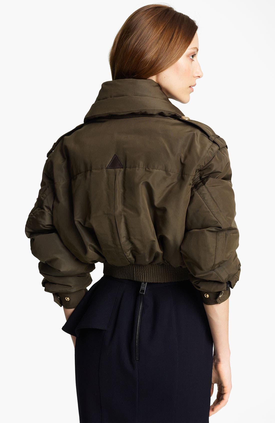 Alternate Image 2  - Burberry Prorsum Mulberry Silk Crop Puffer Jacket