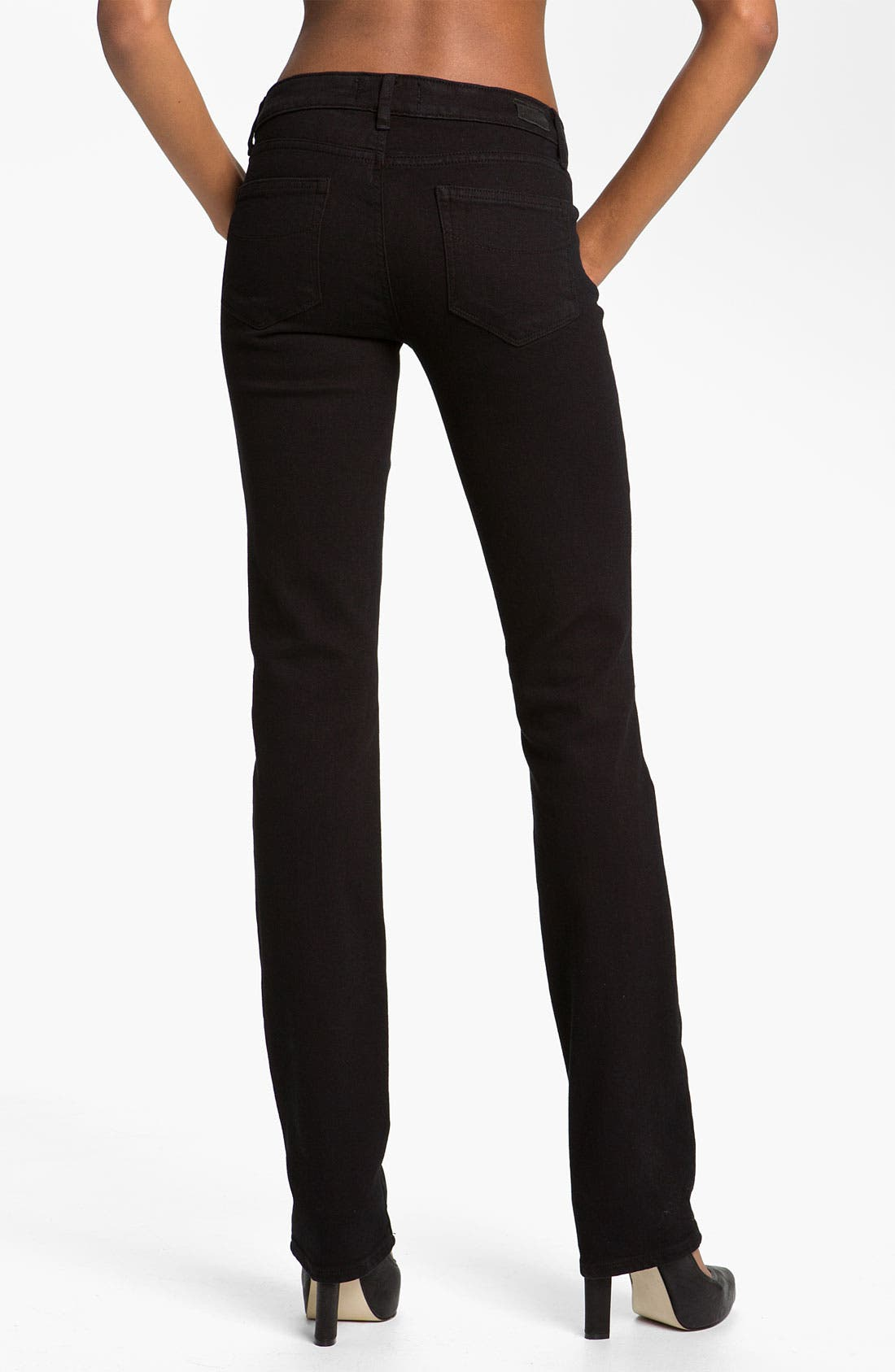 Alternate Image 2  - Paige Denim 'Skyline' Straight Leg Stretch Jeans (Black Ink)