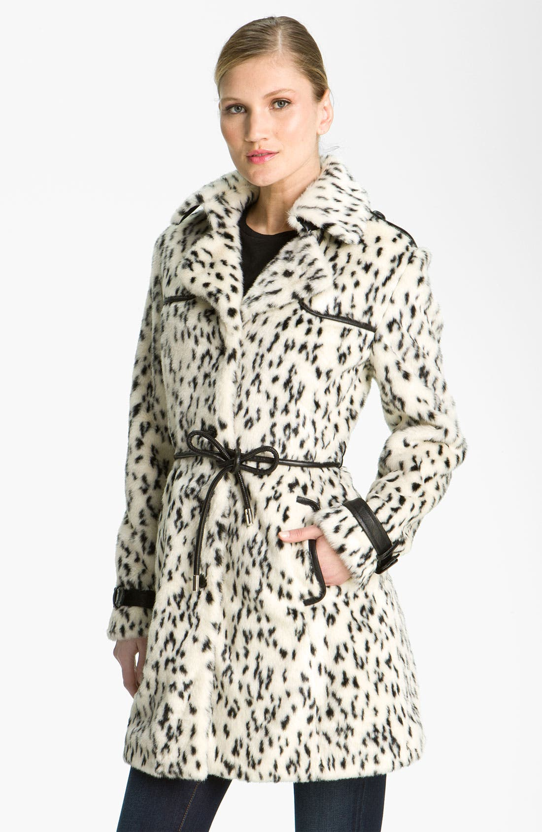Main Image - Via Spiga Spotted Faux Fur Coat