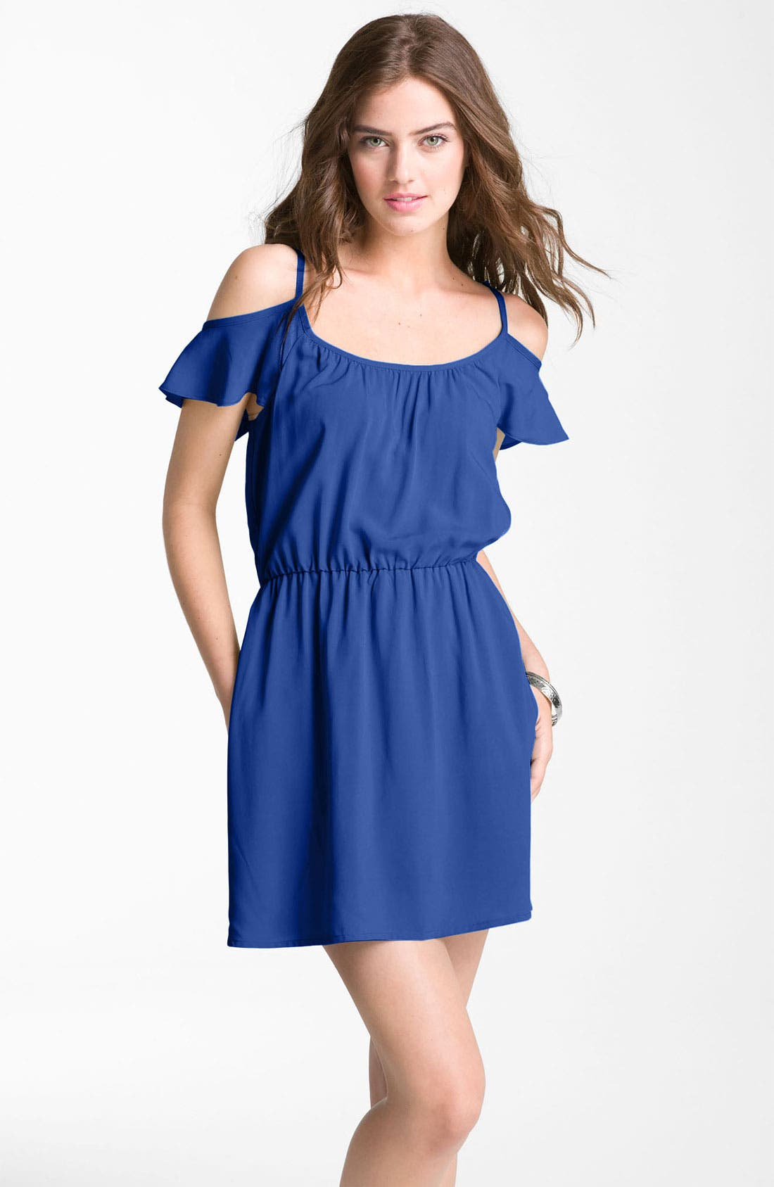 Main Image - Mimi Chica Ruffle Cold Shoulder Dress (Juniors)