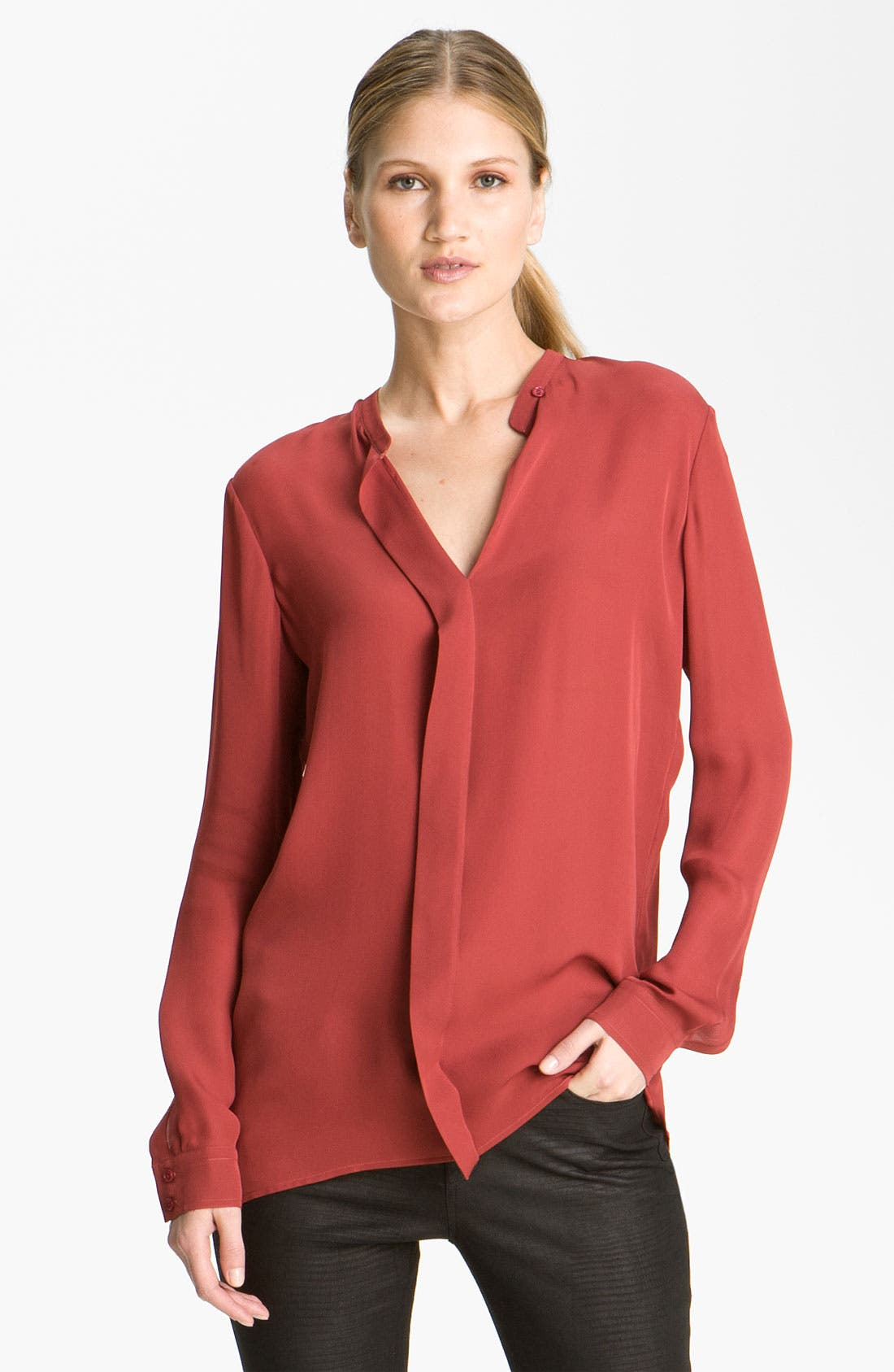 Alternate Image 1 Selected - Vince Pleated Silk Blouse