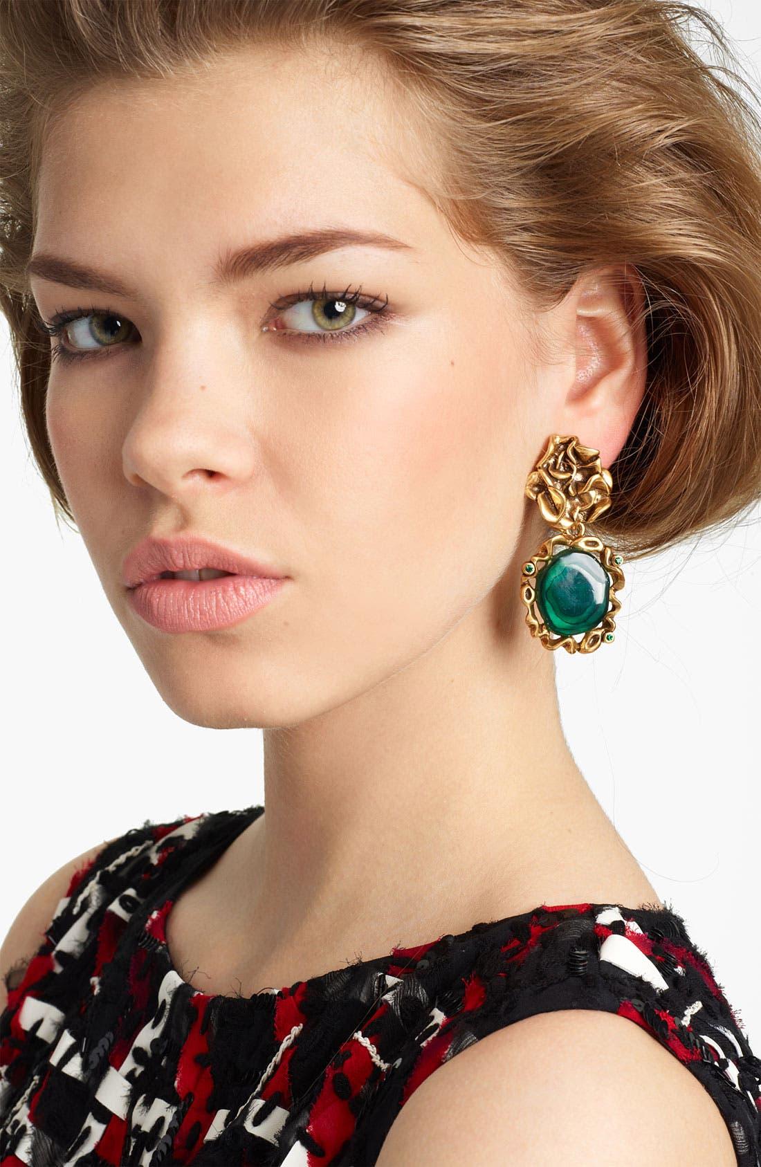 Alternate Image 1 Selected - Oscar de la Renta Ruffle Motif & Geode Drop Earrings