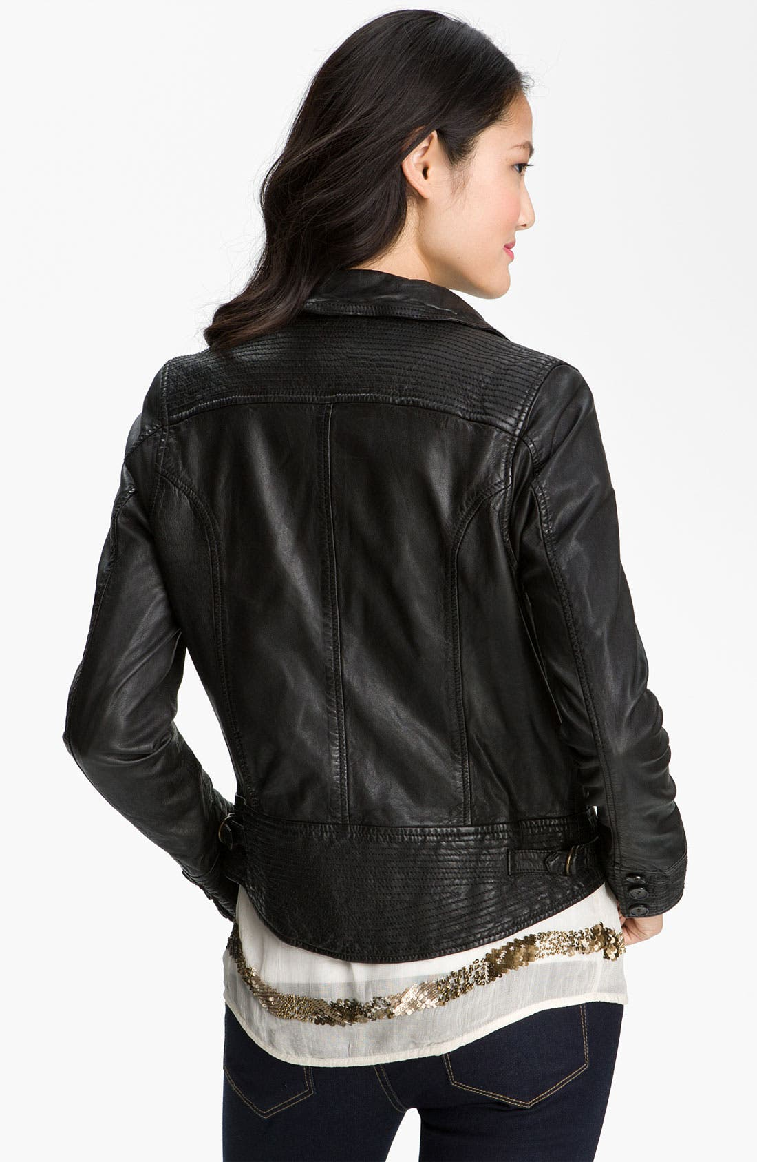 Alternate Image 2  - Lucky Brand Distressed Leather Jacket
