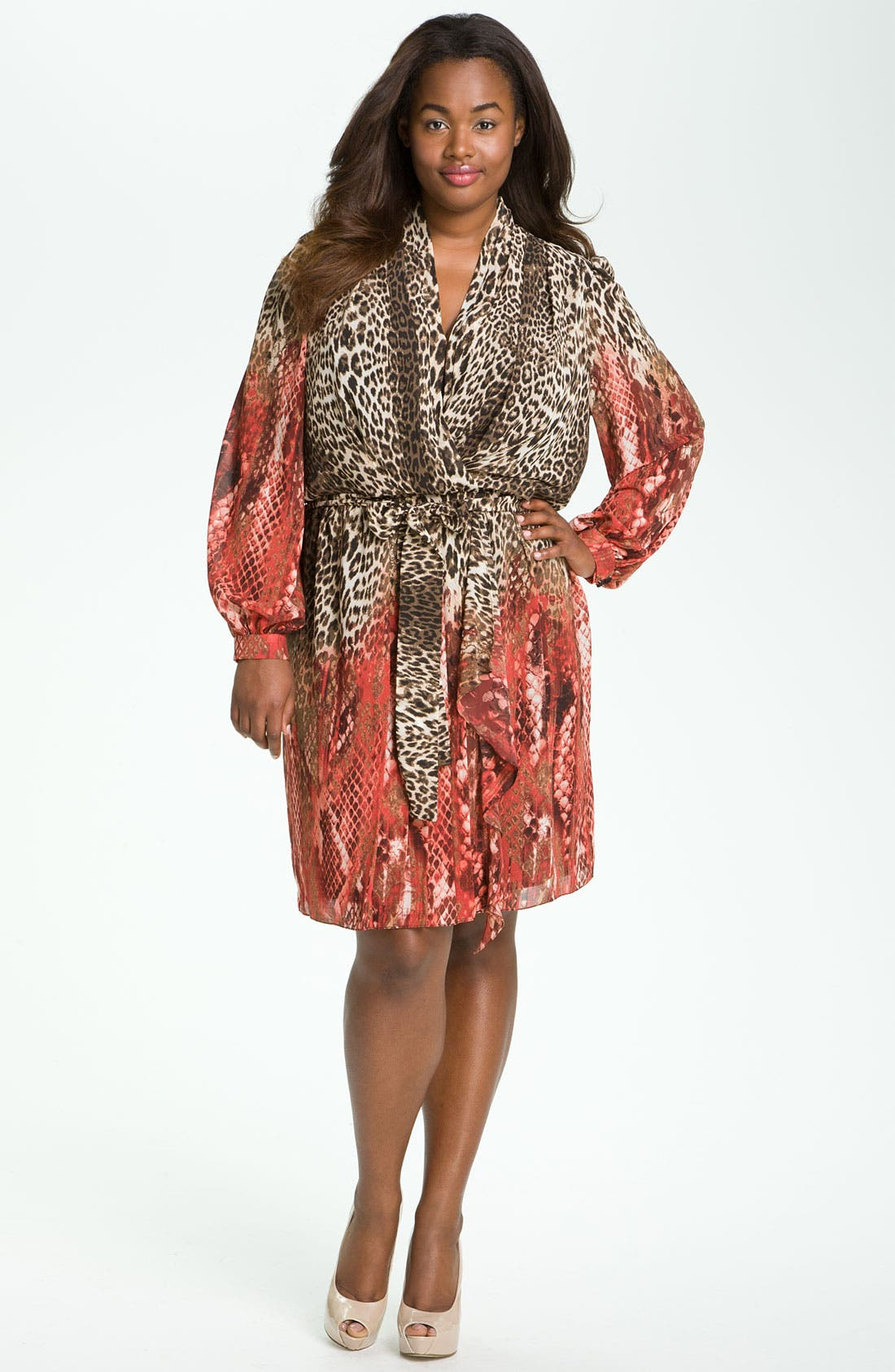 Alternate Image 4  - Donna Ricco Animal Print Surplice Chiffon Dress (Plus Size)