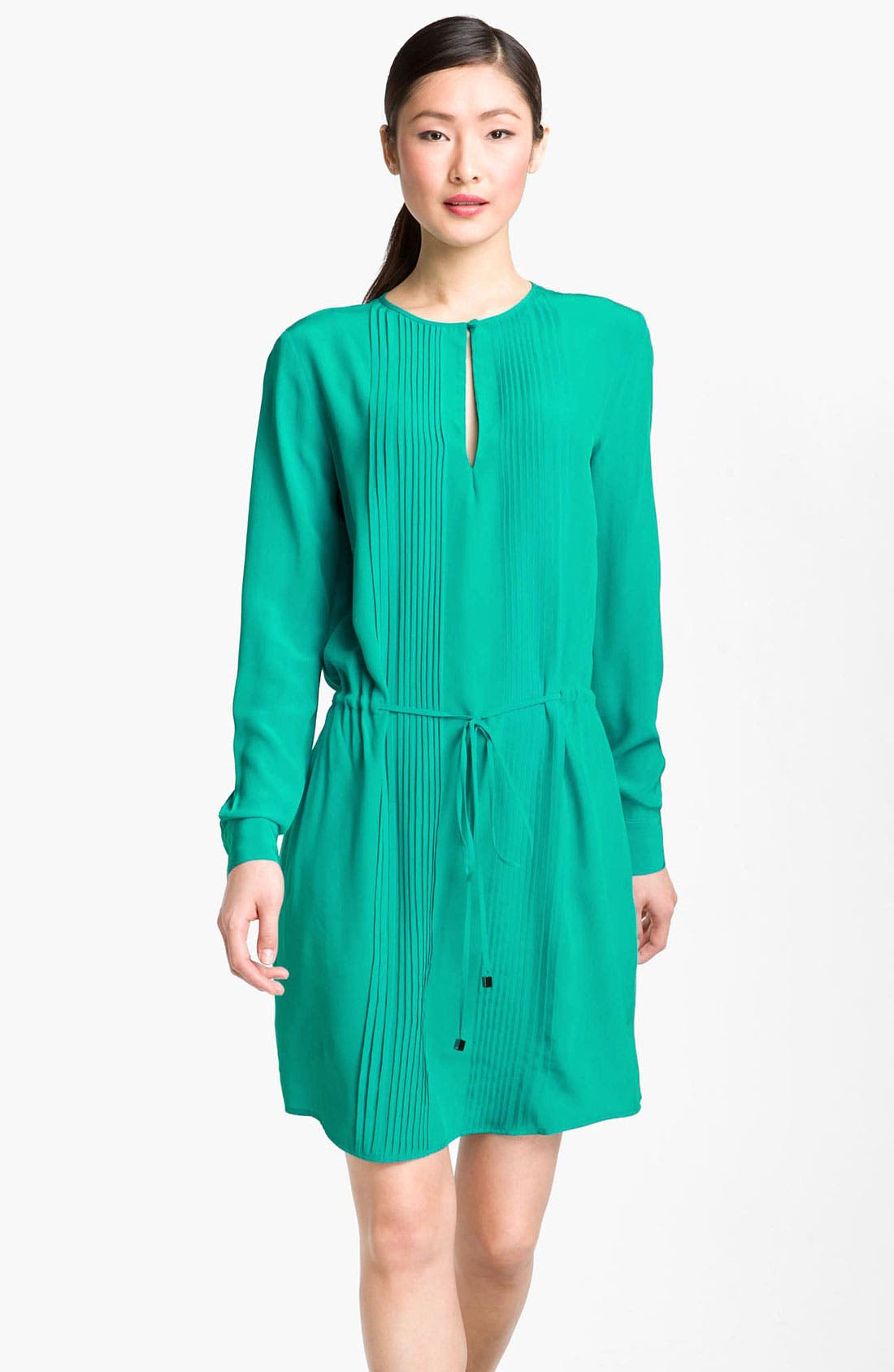 Alternate Image 1 Selected - Suzi Chin for Maggy Boutique Pintuck Silk Shirtdress