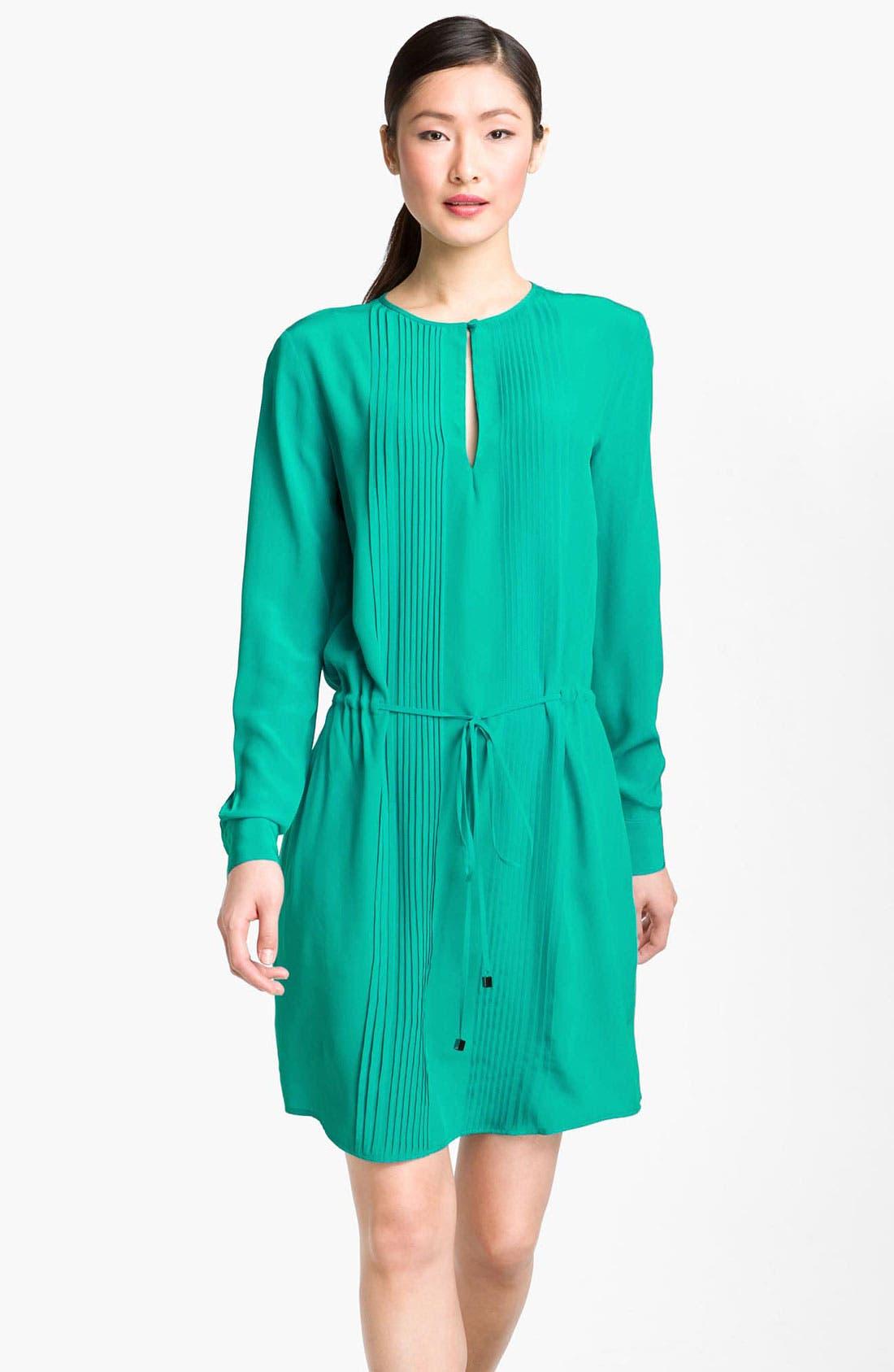 Main Image - Suzi Chin for Maggy Boutique Pintuck Silk Shirtdress