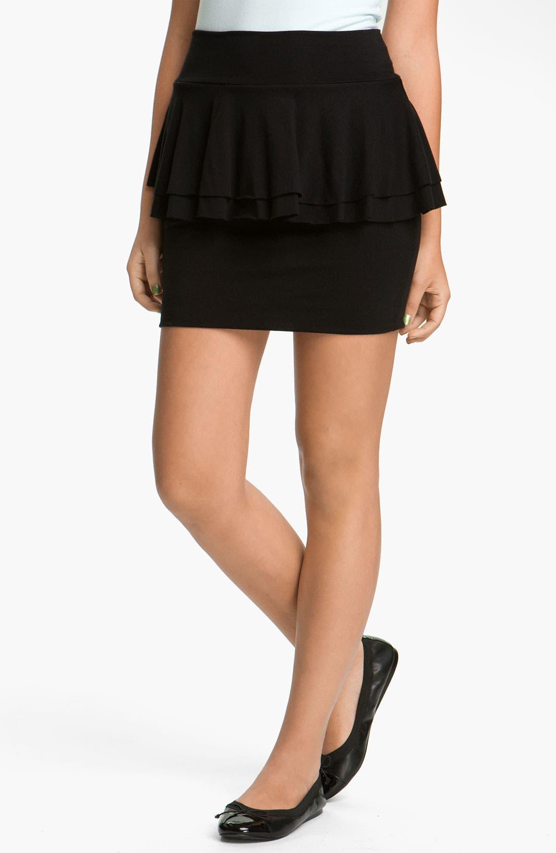 Main Image - Lily White Peplum Skirt (Juniors)