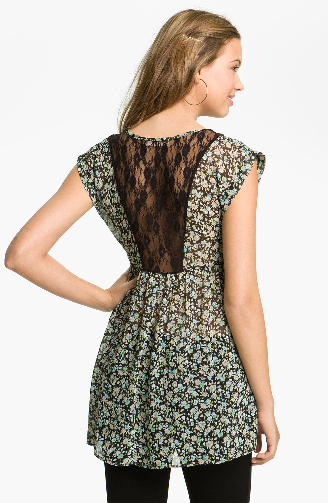 Alternate Image 2  - Elodie Lace Back Floral Tunic (Juniors)