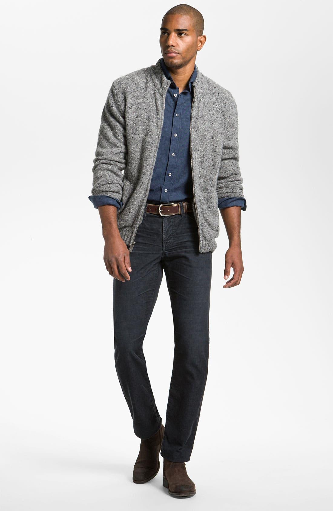 Alternate Image 4  - Hickey Freeman 'Donegal' Wool Blend Zip Cardigan