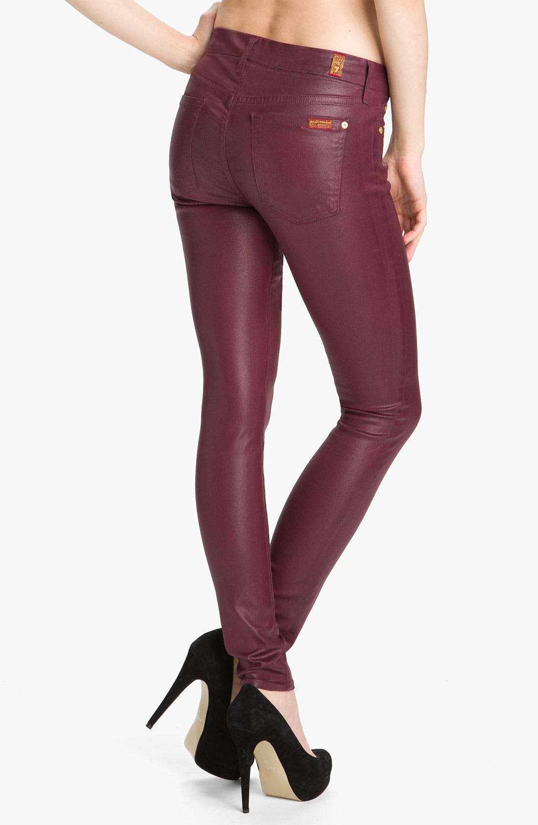Alternate Image 2  - 7 For All Mankind® Coated Skinny Stretch Jeans (Merlot Coating)