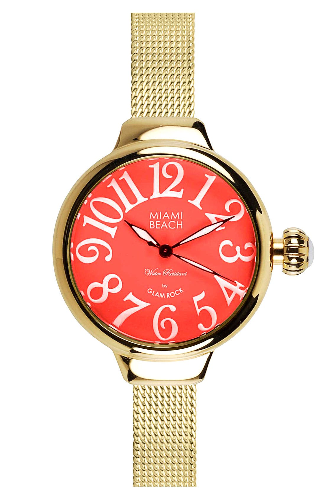 Alternate Image 1 Selected - Miami Beach by Glam Rock Round Mesh Strap Watch