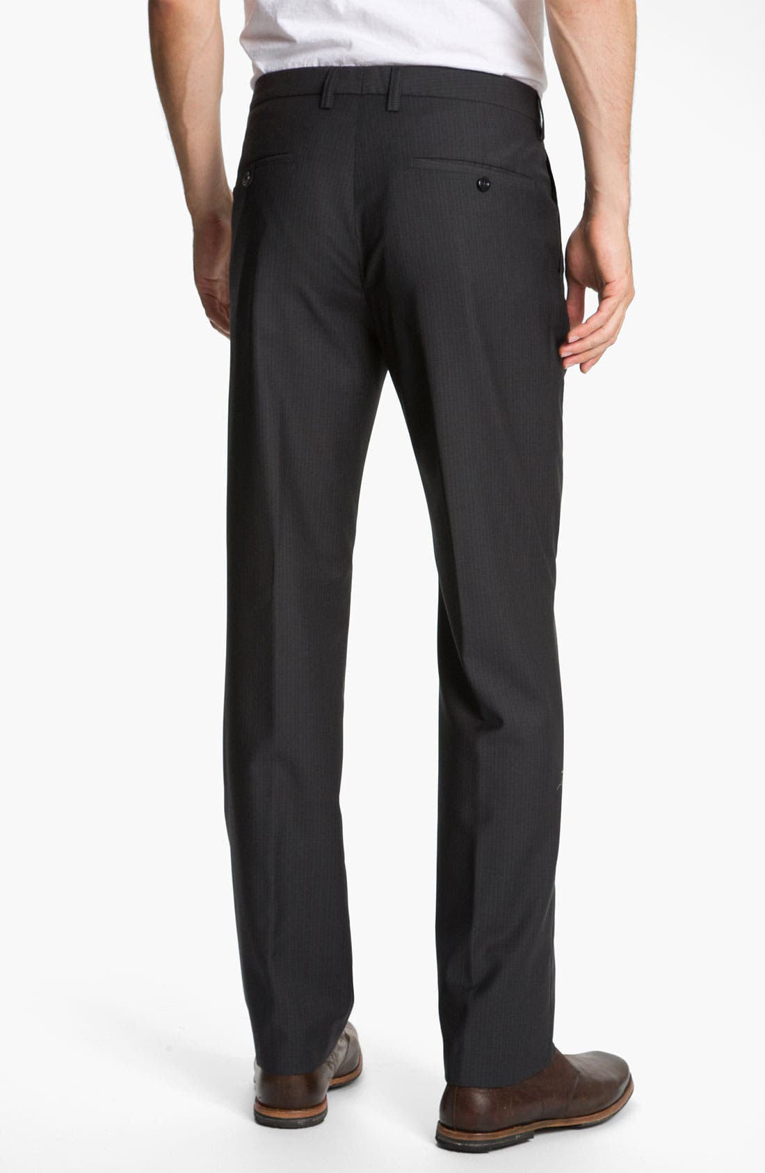 Alternate Image 2  - BOSS Black 'Crigan' Flat Front Wool Trousers