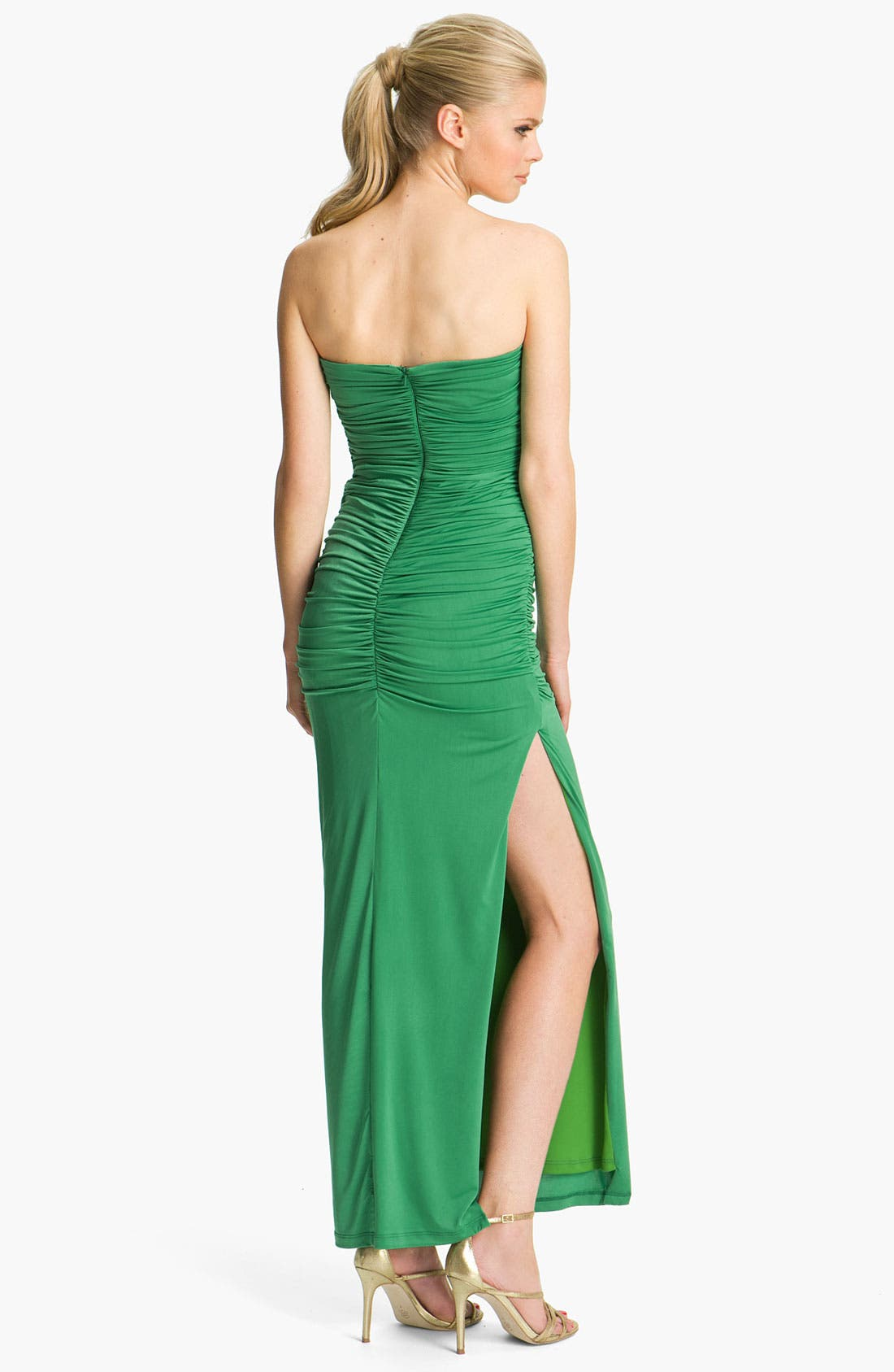Alternate Image 2  - Jessica McClintock Ruched Side Slit Jersey Gown