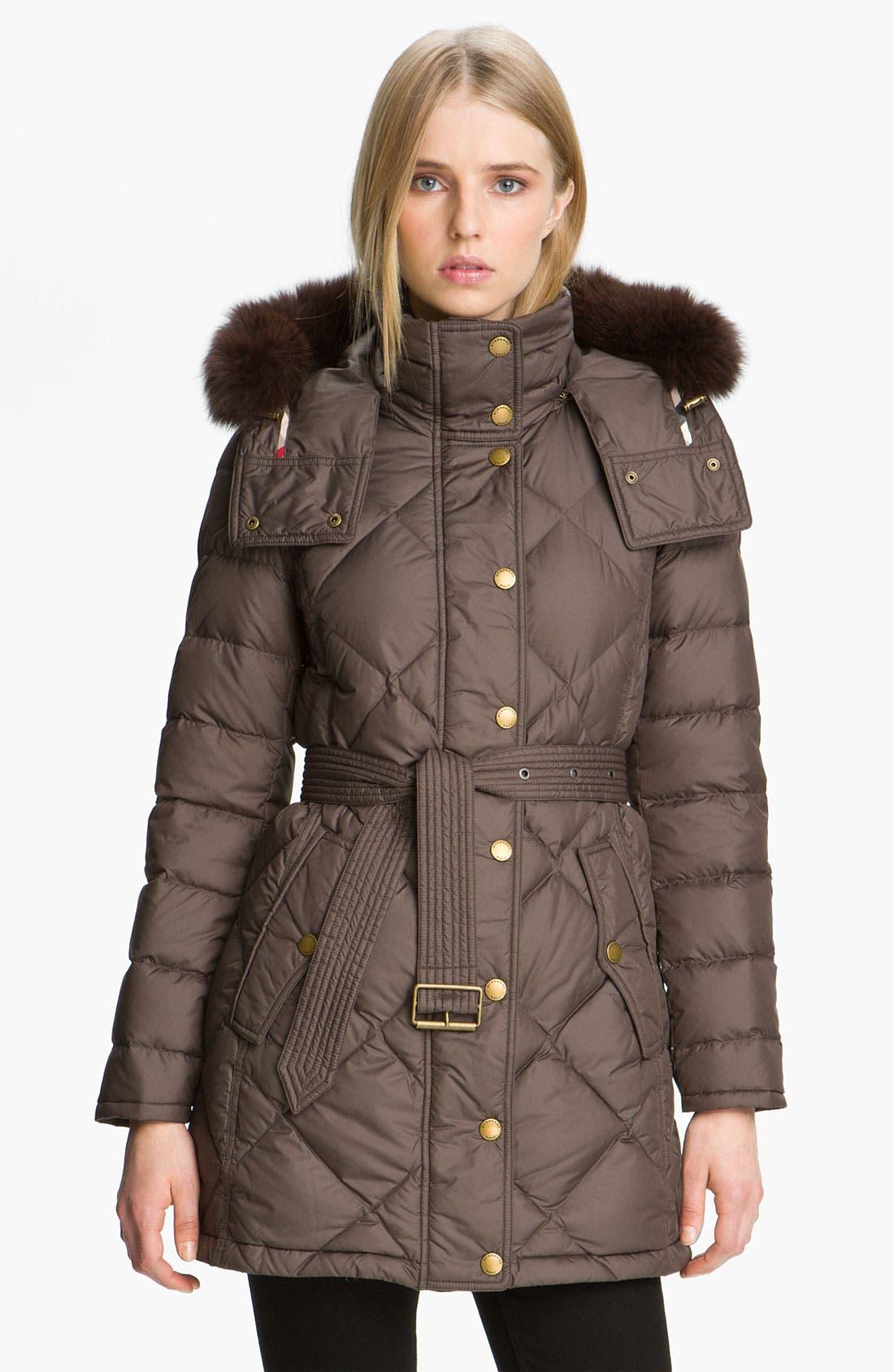 Alternate Image 1 Selected - Burberry Brit Genuine Fox Fur Trim Down Coat