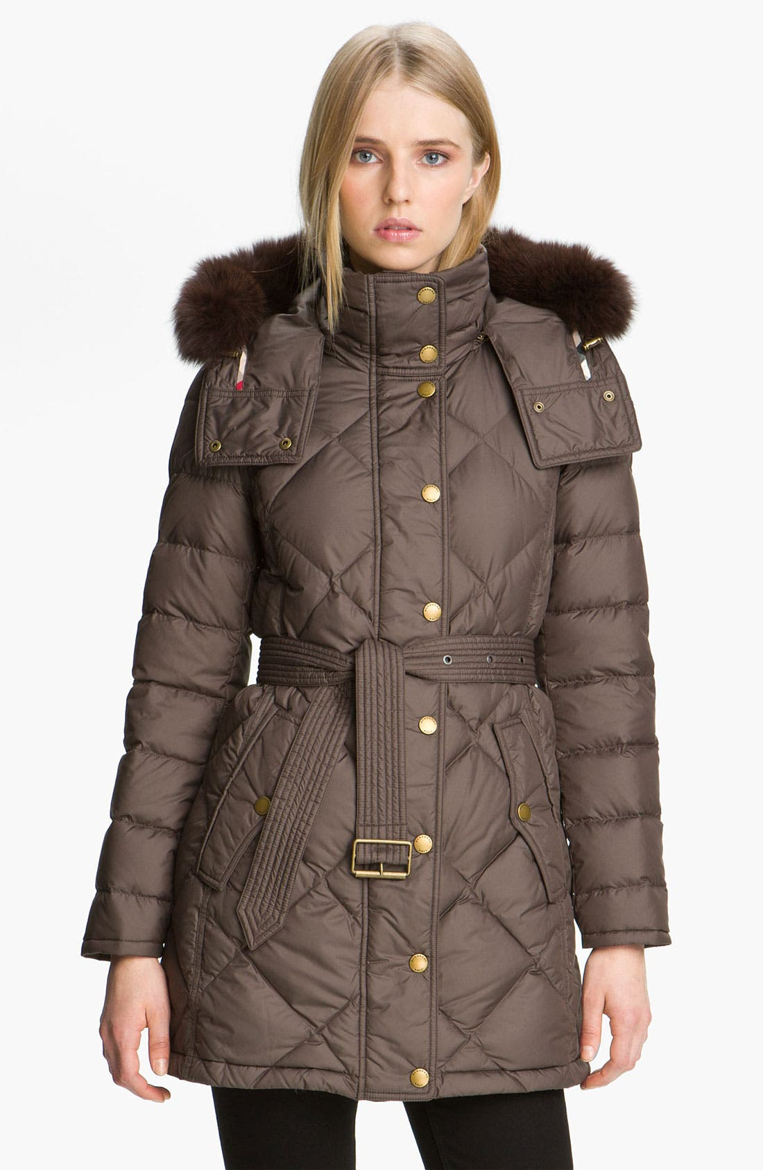 Main Image - Burberry Brit Genuine Fox Fur Trim Down Coat