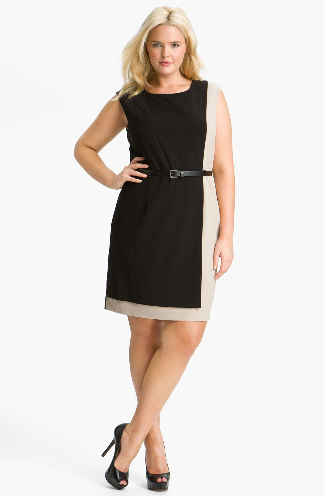 Alternate Image 1 Selected - Calvin Klein Colorblock Belted Sheath Dress (Plus Size)