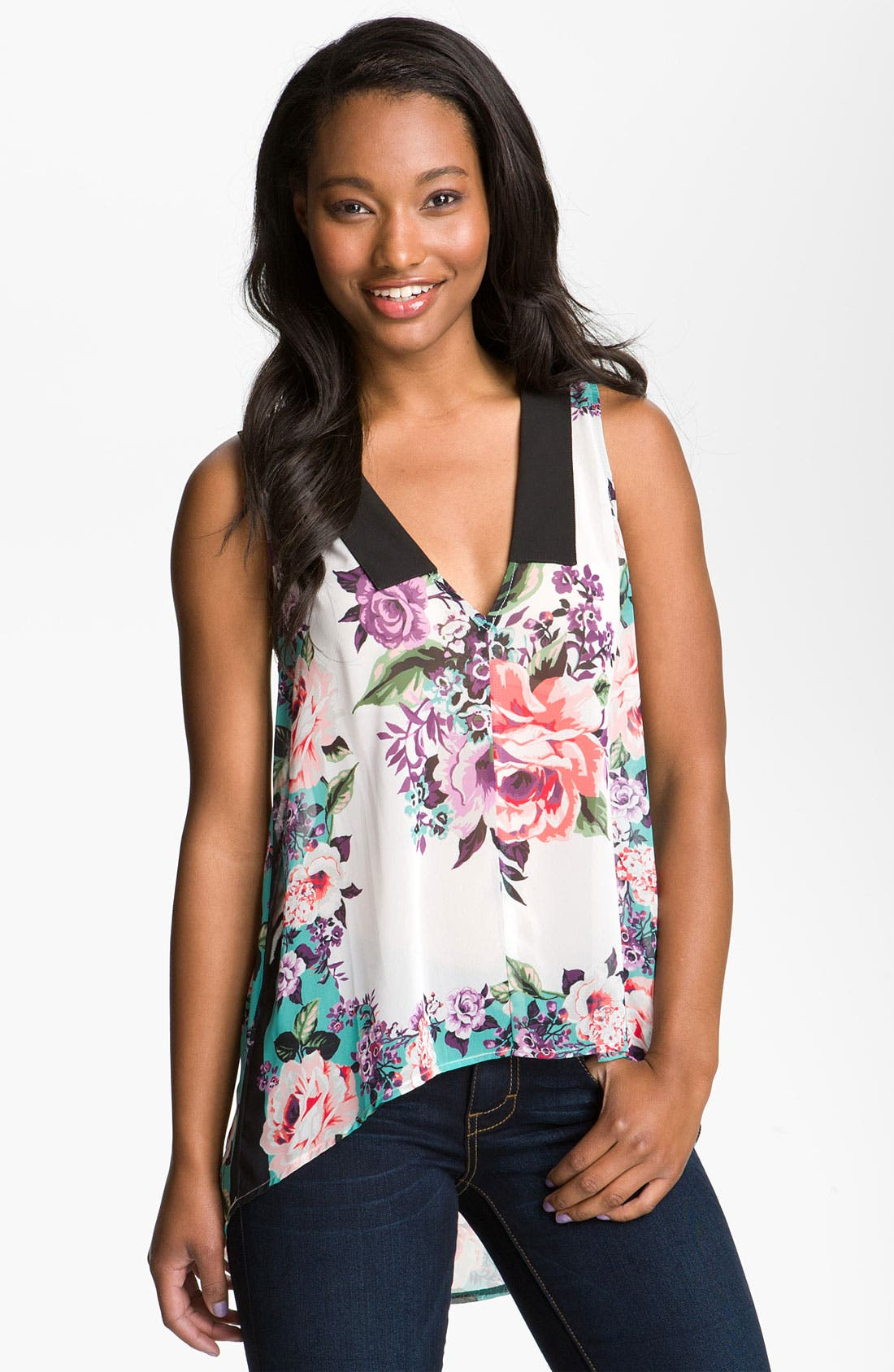 Alternate Image 1 Selected - Band of Gypsies Floral Tank (Juniors)