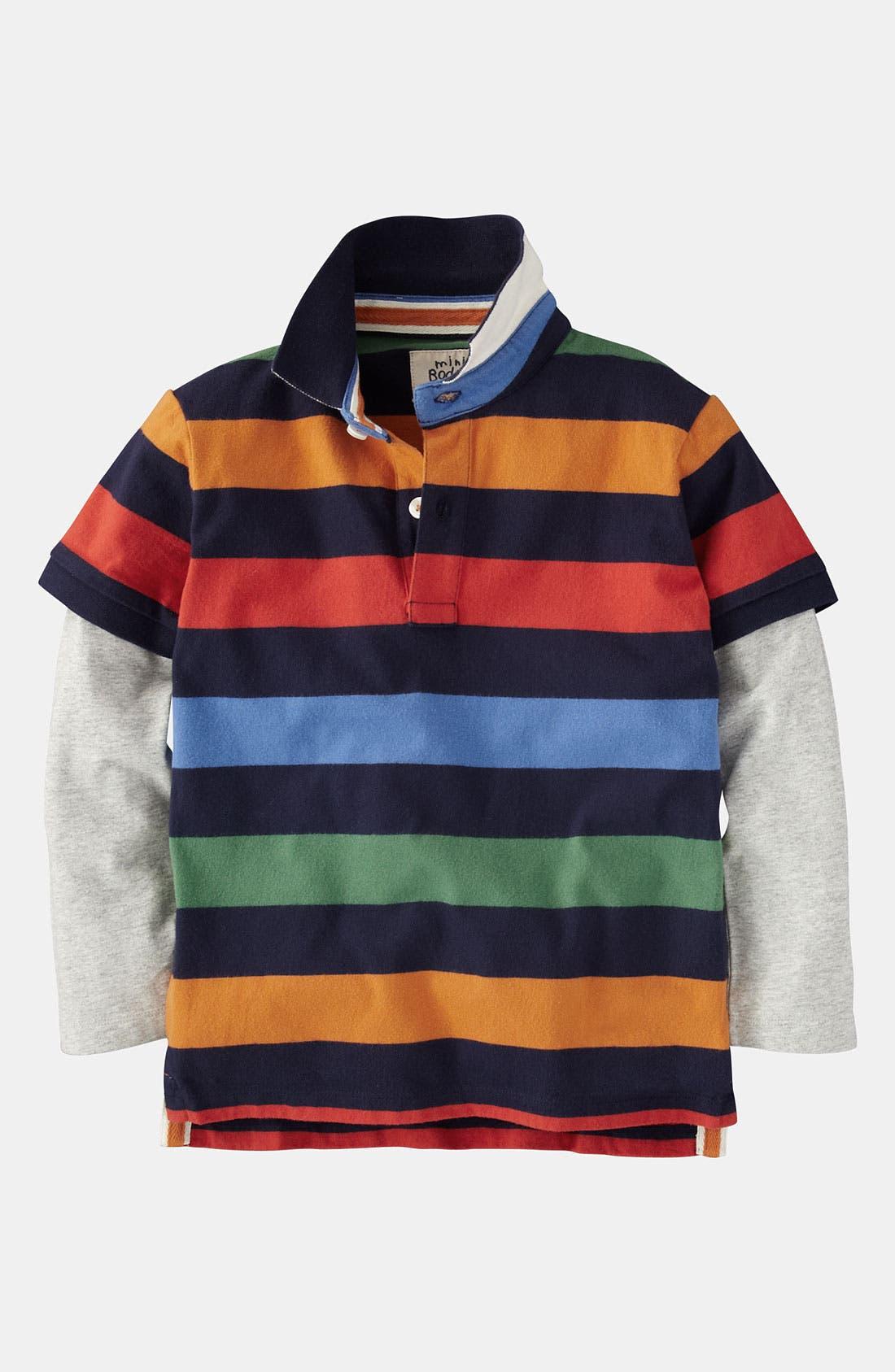 Main Image - Mini Boden Layered Sleeve Polo (Little Boys & Big Boys)