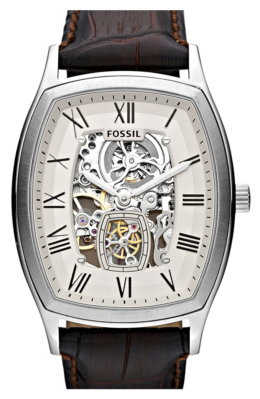 Alternate Image 1 Selected - Fossil 'Ansel' Automatic Leather Strap Watch