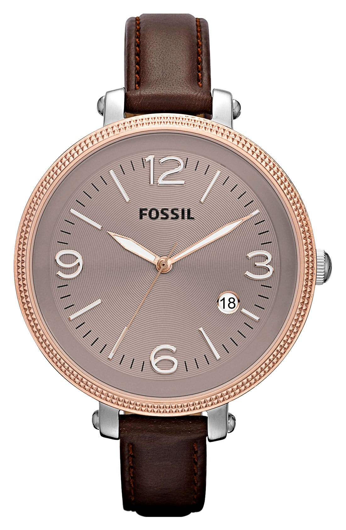 Alternate Image 1 Selected - Fossil 'Heather' Round Leather Strap Watch, 42mm