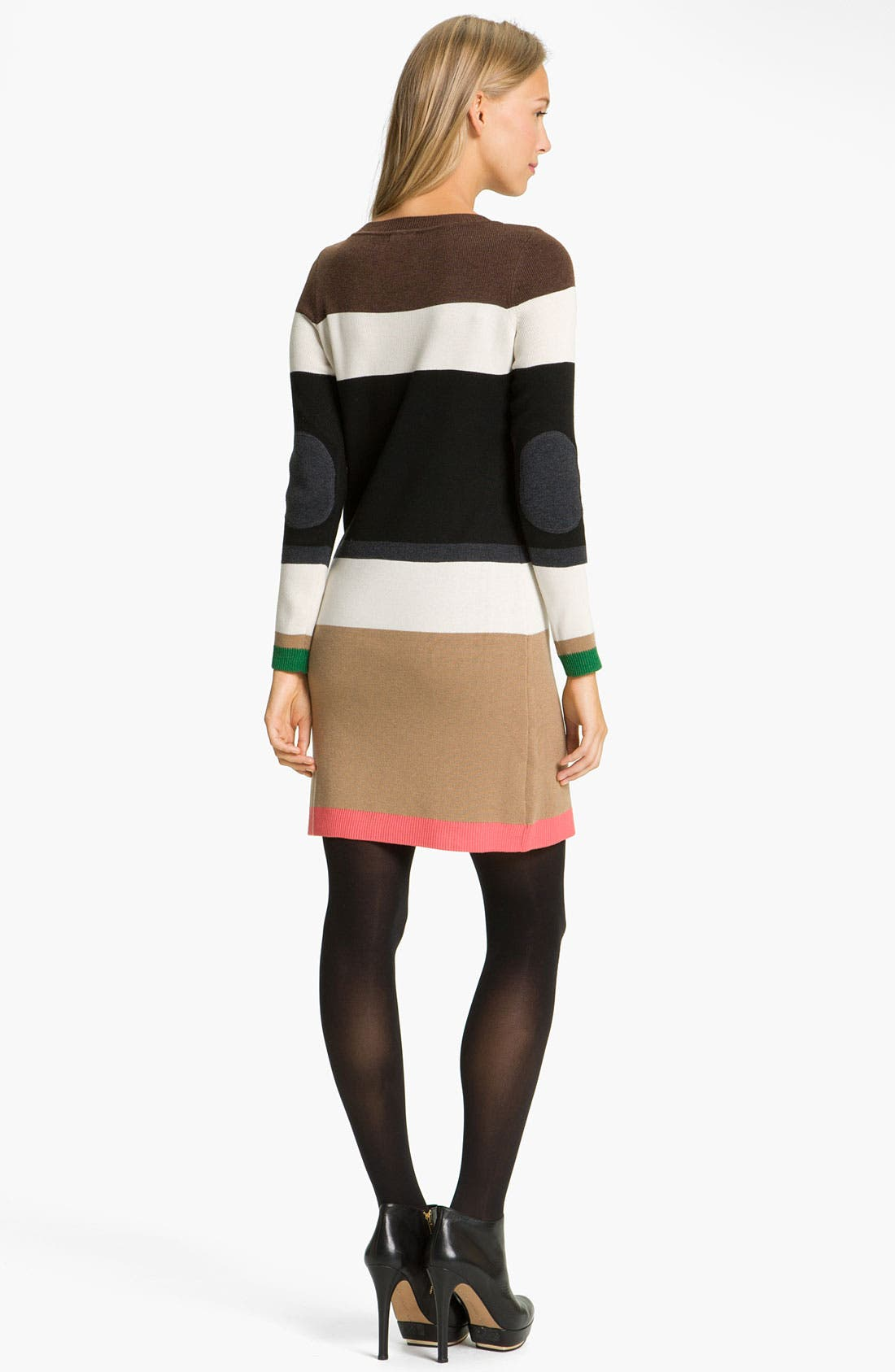 Alternate Image 2  - Eliza J Colorblock Elbow Patch Sweater Dress