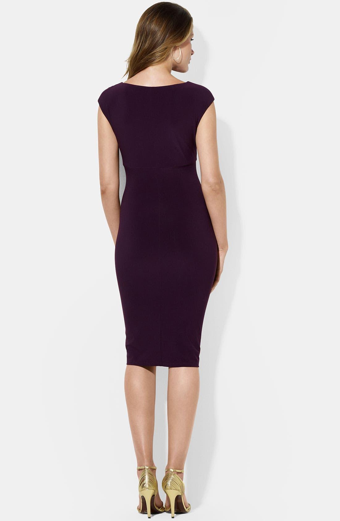 Alternate Image 2  - Lauren Ralph Lauren Asymmetrical Neck Jersey Sheath Dress