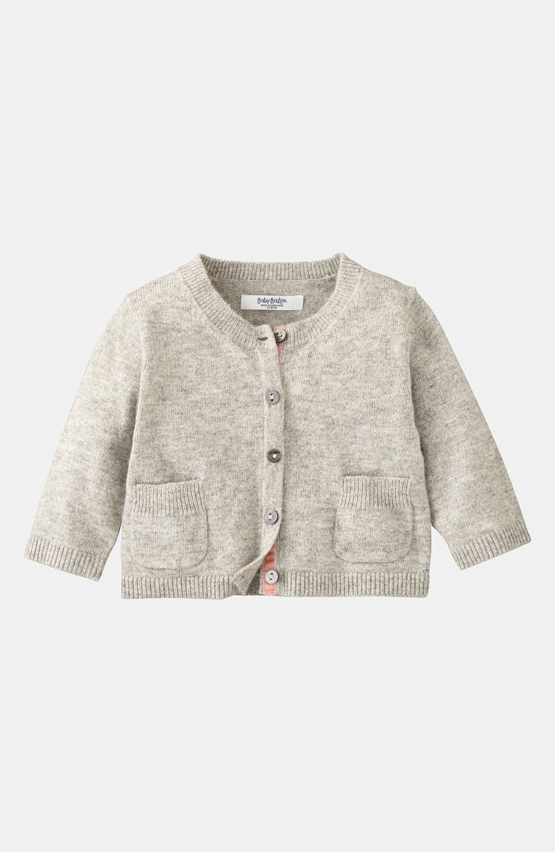 Alternate Image 1 Selected - Mini Boden 'Baby' Cardigan (Infant)