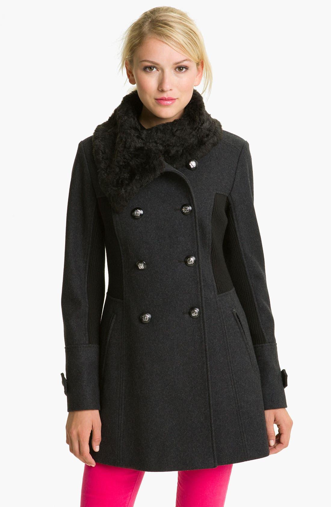 Alternate Image 1 Selected - GUESS Faux Fur & Knit Trim Coat