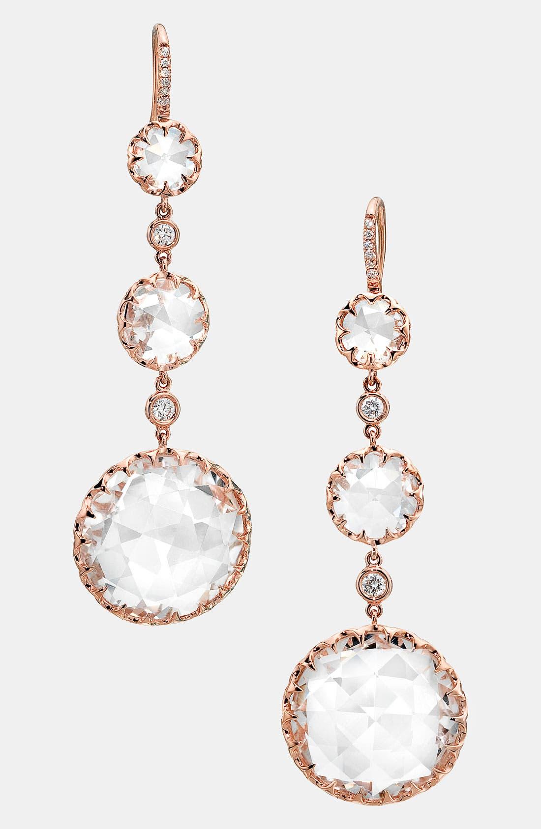 Alternate Image 1 Selected - Ivanka Trump 'Rose Gold' Long Stone & Diamond Drop Earrings