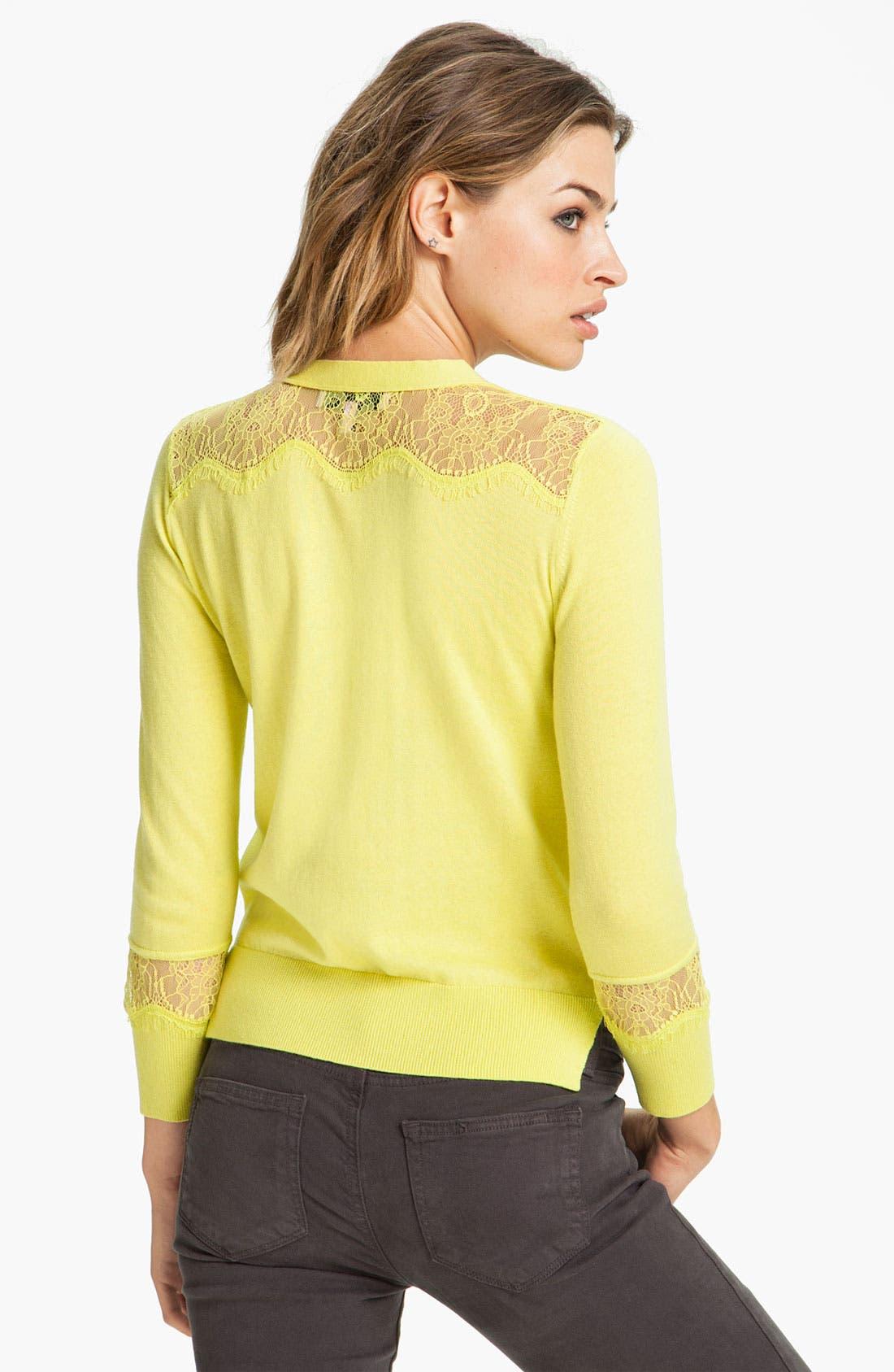 Alternate Image 2  - Juicy Couture Lace Trim Cardigan