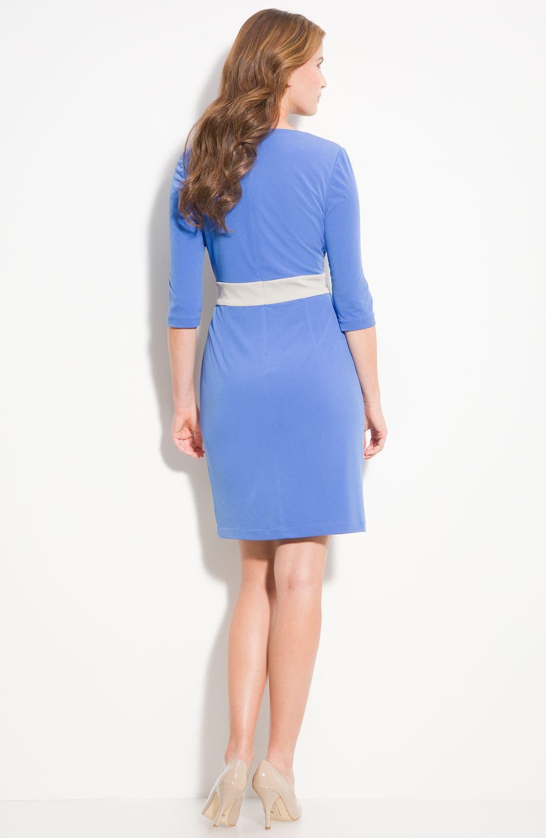 Alternate Image 3  - Donna Ricco Colorblock Surplice Jersey Dress (Petite)