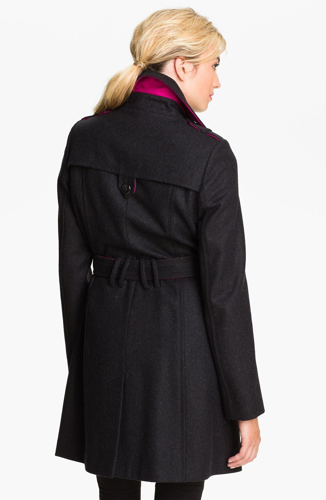 Alternate Image 2  - DKNY Contrast Trim Wool Blend Coat