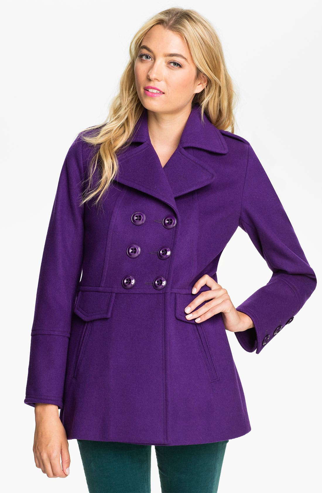 Main Image - Kristen Blake High Double Breasted Peacoat