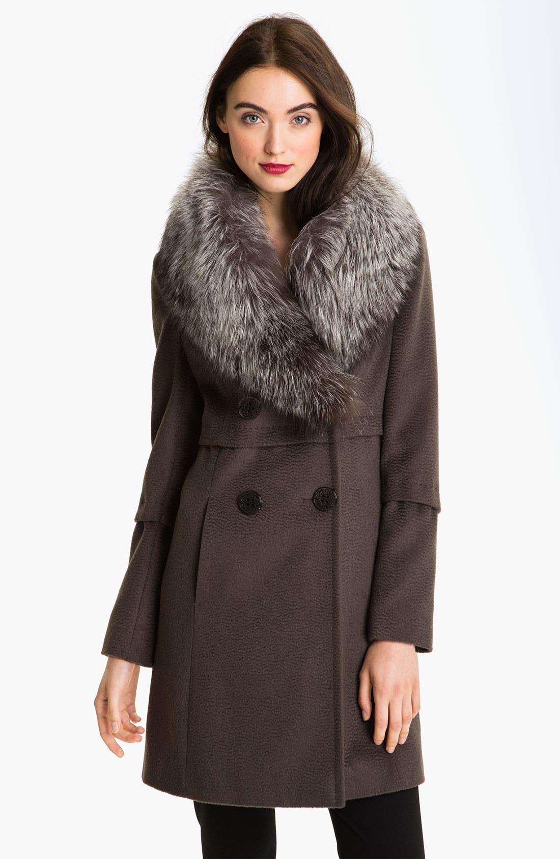 Main Image - Elie Tahari Double Breasted Coat with Genuine Fox Fur Collar