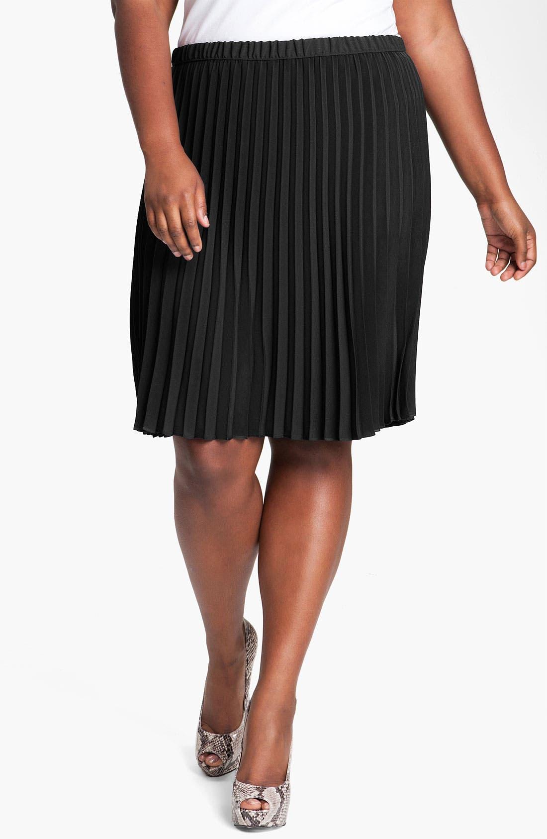 Alternate Image 1 Selected - DKNYC Pleated Skirt (Plus)